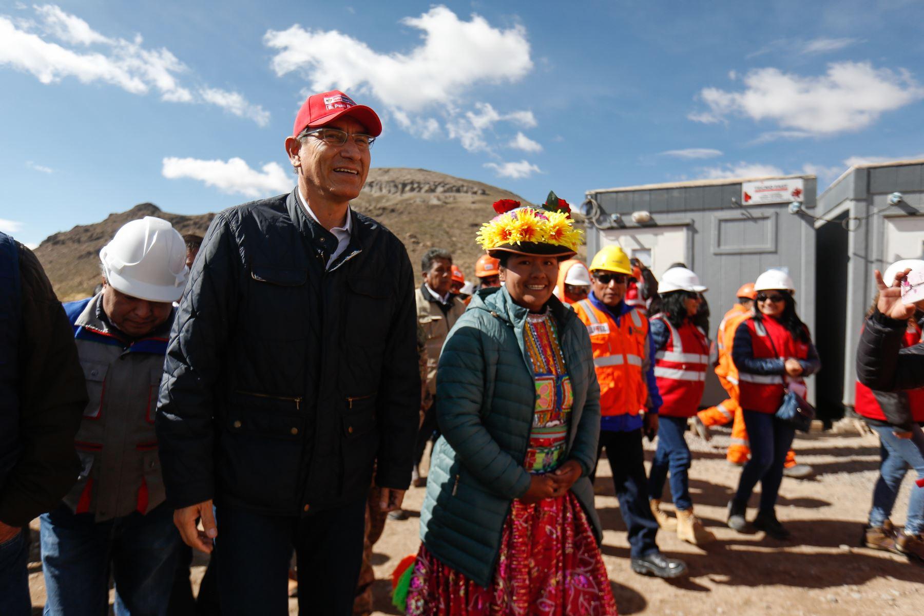 Presidente  Martin Vizcarra, supervisó la planta de bombeo de Chilota Chincune, ubicada en Moquegua. Foto: ANDINA/ Prensa Presidencia