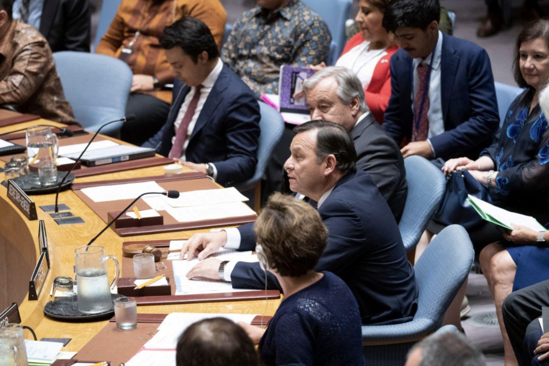 Canciller Nestor Popolizio presidió debate en el Consejo de Seguridad de la ONU.Foto:ANDINA/MRE