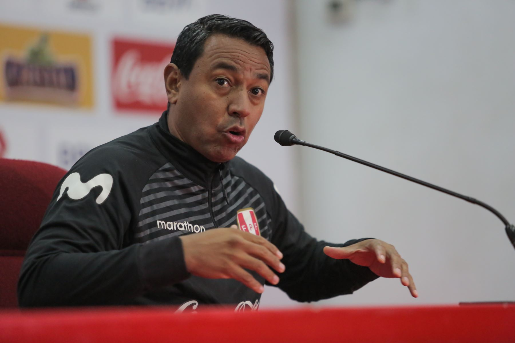Conferencia de prensa de Nolberto Solano entrenador de la Selección Peruana de Fútbol Sub 23.Foto: ANDINA/ David Huamaní