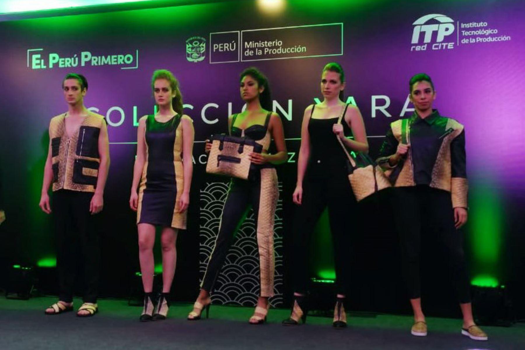 """El paiche se pone de moda y emprendedores innovan con ropa y calzado que forman parte de colección """"Yara"""" que presentó el Instituto Tecnológico de la Producción. ANDINA/Difusión"""