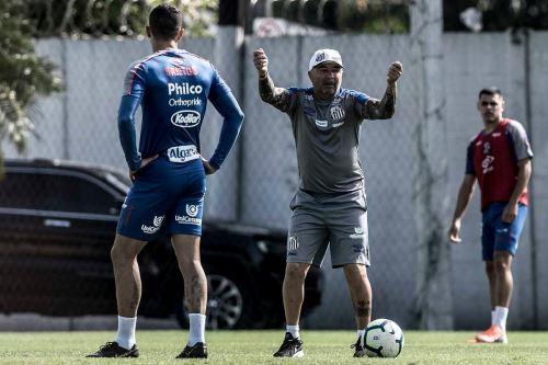 Jorge Sampaoli, técnico del Santos. Facebook Santos Oficial