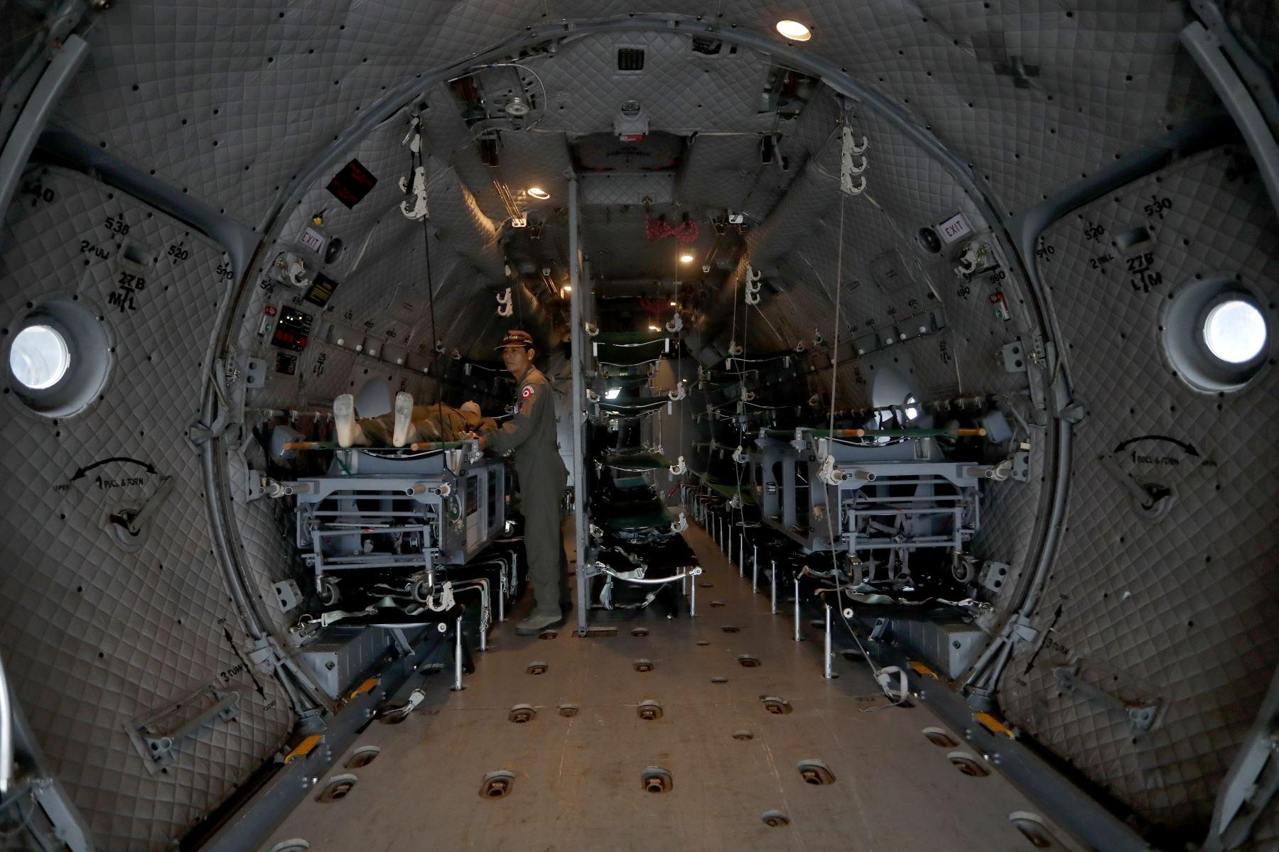 La Aérea moderna aeronave C27J Spartan vista por el ingreso de la parte posterior. Foto: ANDINA/Josue Ramos