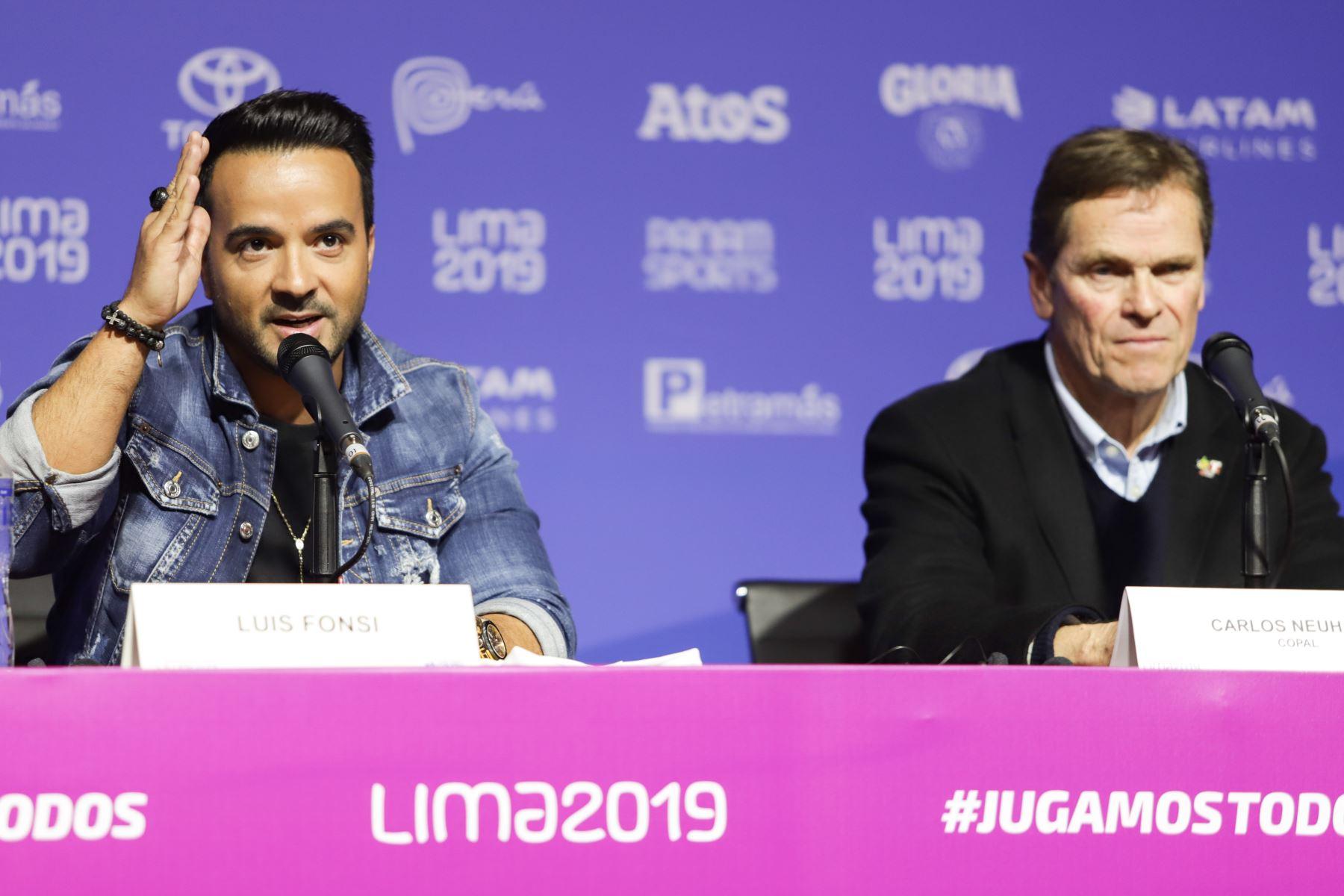 Conferencia de prensa del artista internacional Luis Fonsi quien cantará en la ceremonia de inauguración de los Juegos Panamericanos Lima 2019. Foto: ANDINA/Jorge Tello