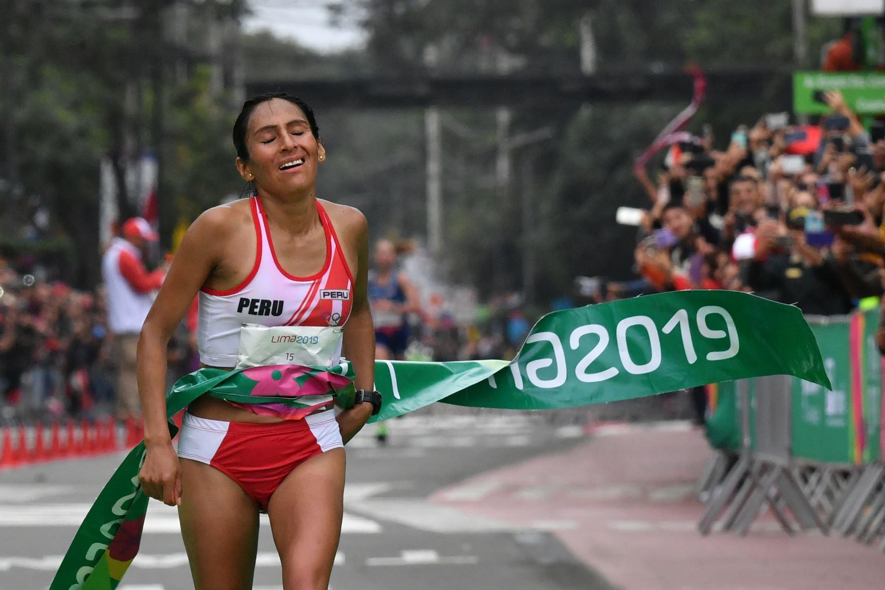 Gladys Tejeda, de Perú, gana la Maratón de mujeres en los Juegos Panamericanos Lima 2019 en Lima, Perú, el 27 de julio de 2019. Los Juegos Panamericanos duran hasta el 11 de agosto. AFP