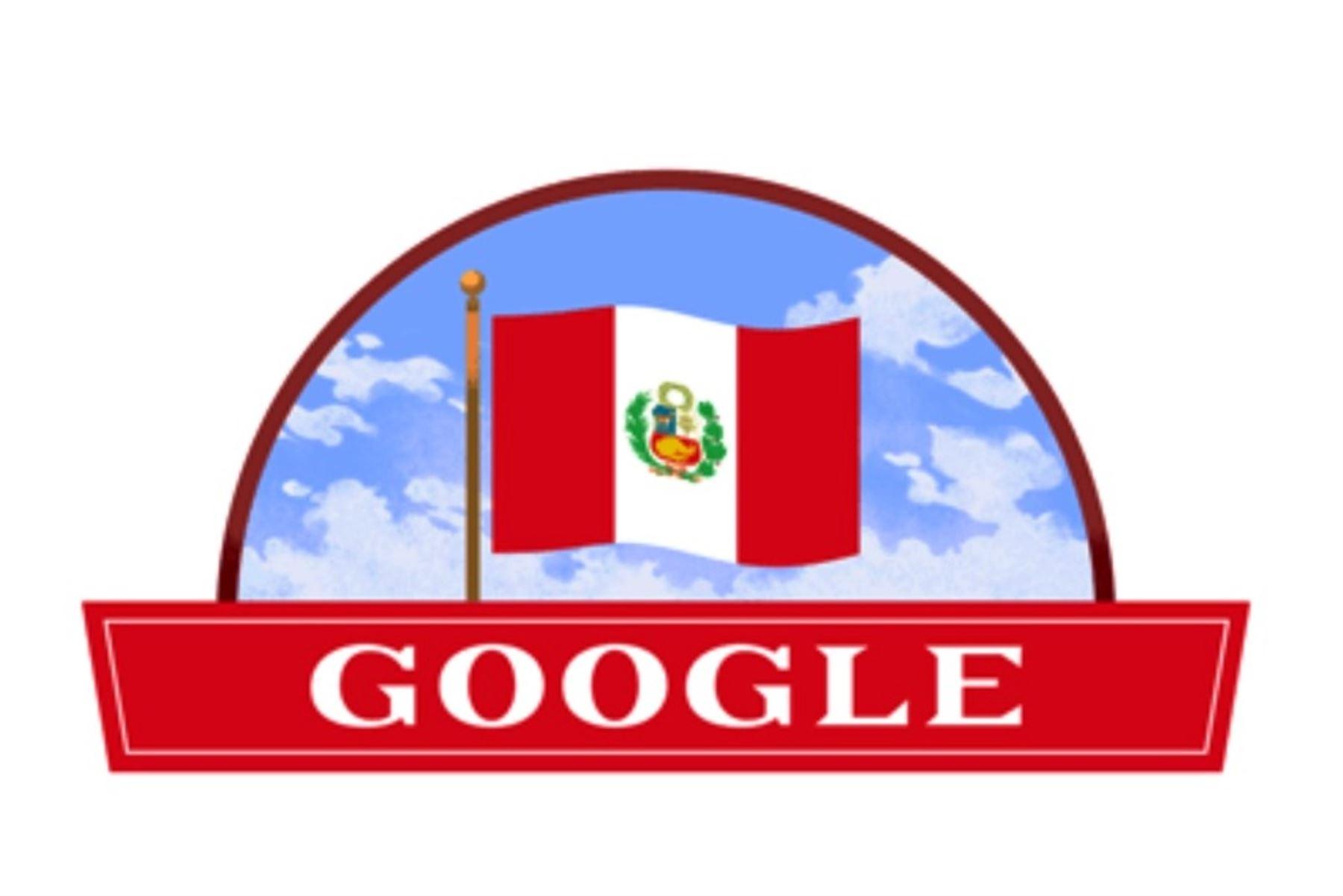 """Fiestas Patrias: Google celebra Independencia del Perú con vistoso """"doodle"""". Foto: captura."""