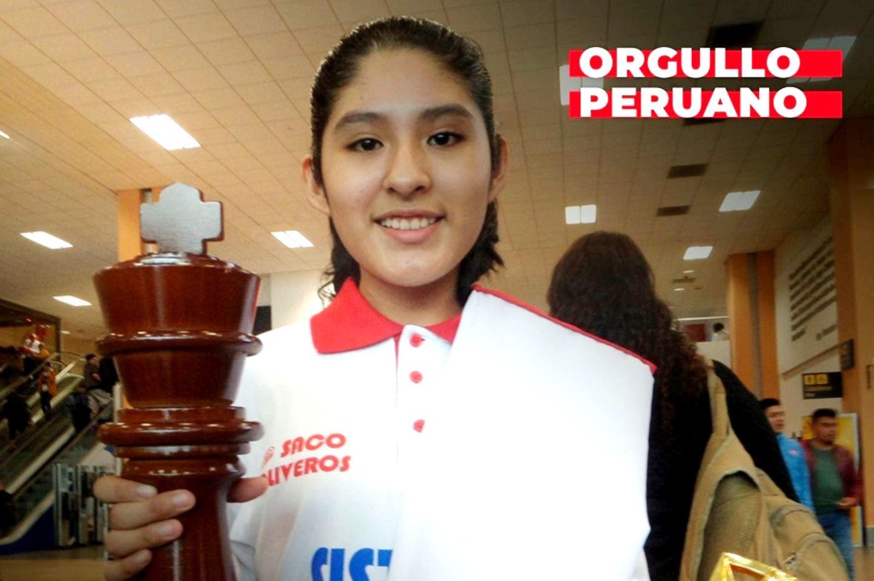 La escolar peruana Fiorella Contreras se coronó tricampeona de ajedrez. Foto: ANDINA/difusión.