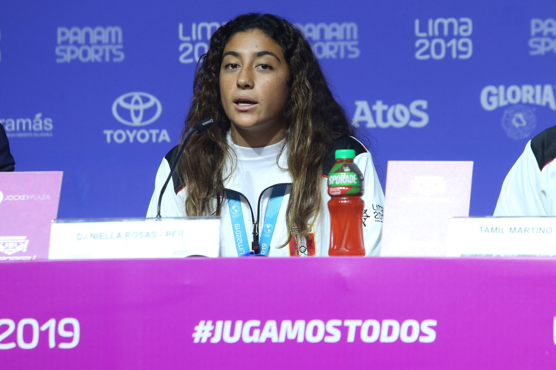 Conferencia de prensa de  Daniella Rosas ( Perú ) en Surf, estrella en los Juegos Panamericanos Lima 2019. Foto: ANDINA/Eddy Ramos