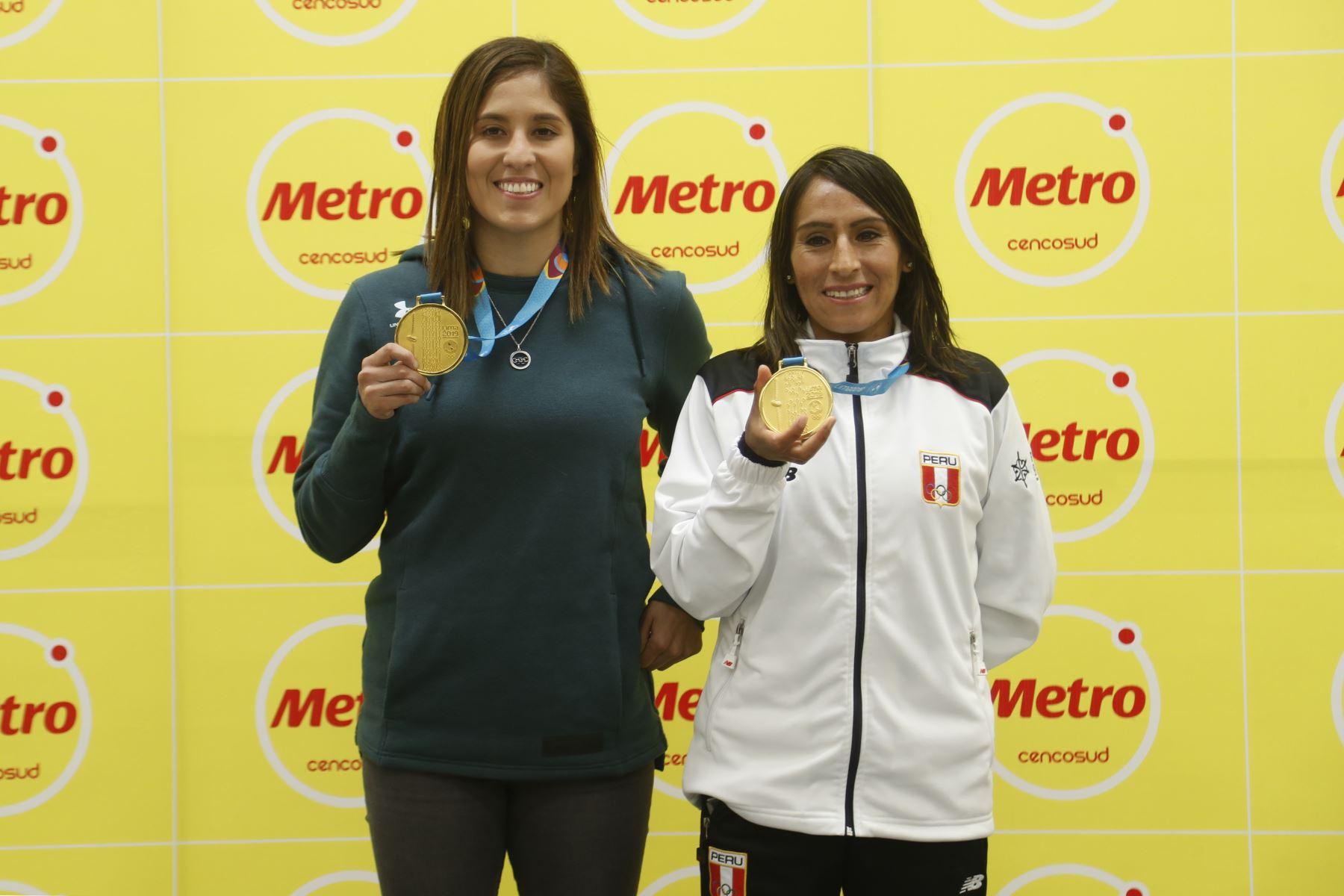 Gladys Tejeda, Alexandra Grande, deportista peruanas ganadoras de medallas de oro en los Juegos Panamericanos de Lima 2019. Foto: ANDINA/Josue Ramos