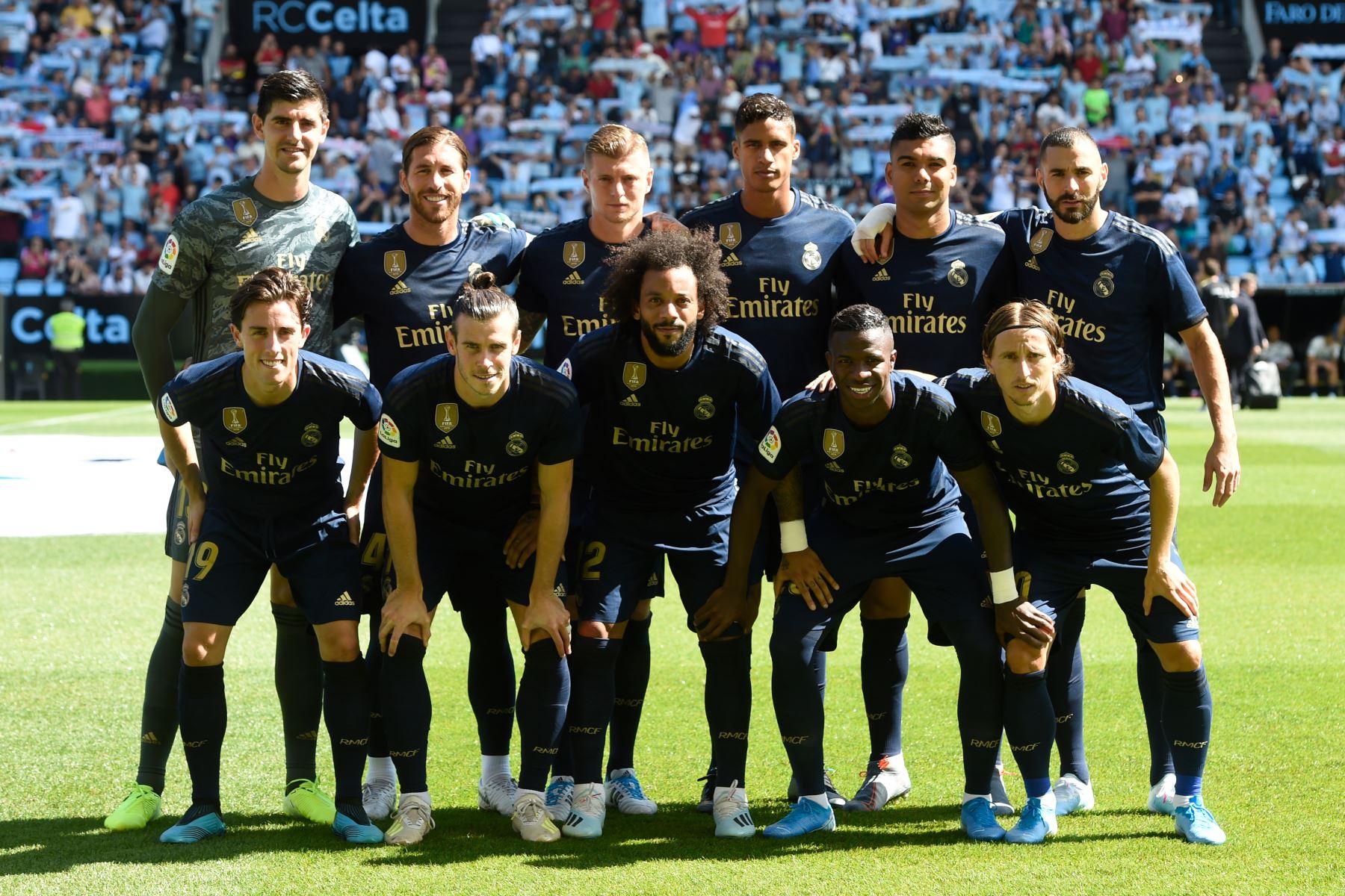 Equipo titular del Real Madrid que enfrenta al Celta por la Liga Santander. Foto: AFP