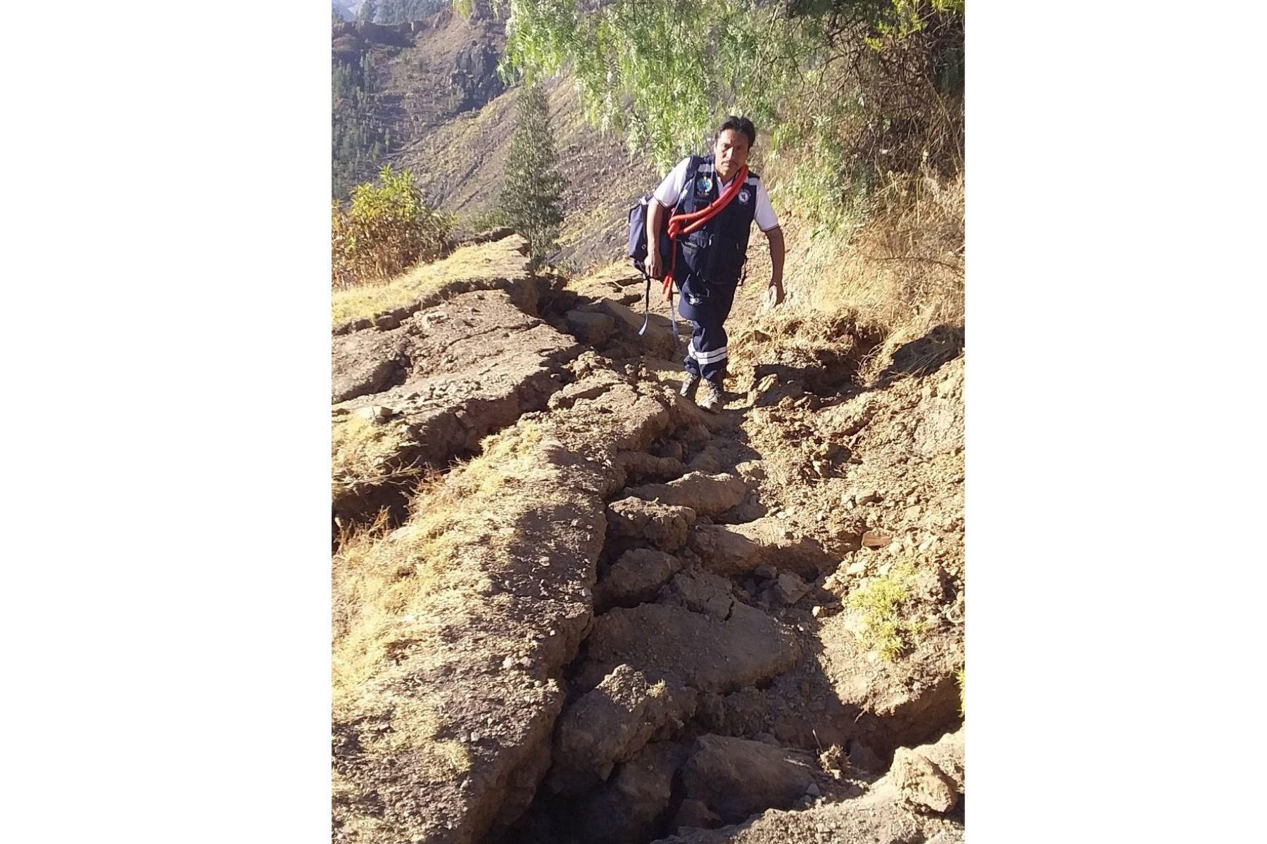 La nueva activación de la falla geológica que existe en el distrito de Yauya, región Áncash, ha generado daños a varias viviendas. Foto: ANDINA/Difusión