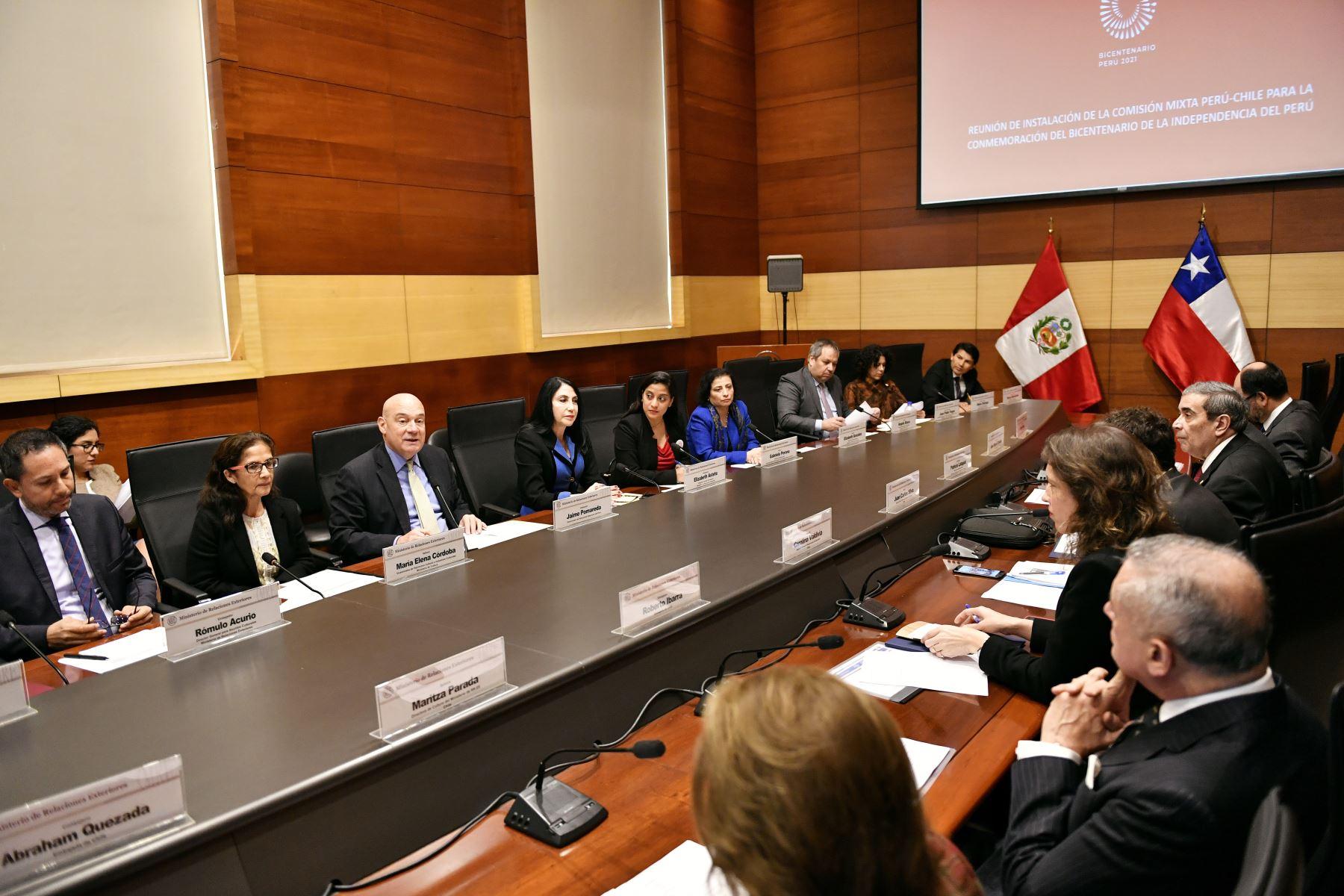 Instalación de  la Comisión Mixta Perú-Chile para la Conmemoración del Bicentenario de la Independencia del Perú y definen un Plan de Trabajo Conjunto de actividades de contenido simbólico, retrospectivo, prospectivo y comunitario, con ocasión de nuestra efeméride.Foto:ANDINA/MRE