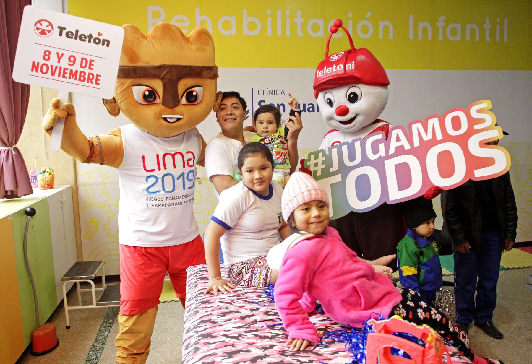 Milco la mascota oficial de los Juegos Parapanamericanos Lima 2019, visito a los niños del Hospital  San Juan de Dios. Foto:ANDINA/ LIMA 2019