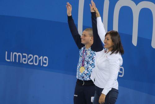 Ministra de Transportes y Comunicaciones, María Jara  en premiación a deportistas de Parapanamericanos Lima 2019. Foto: Cortesía.