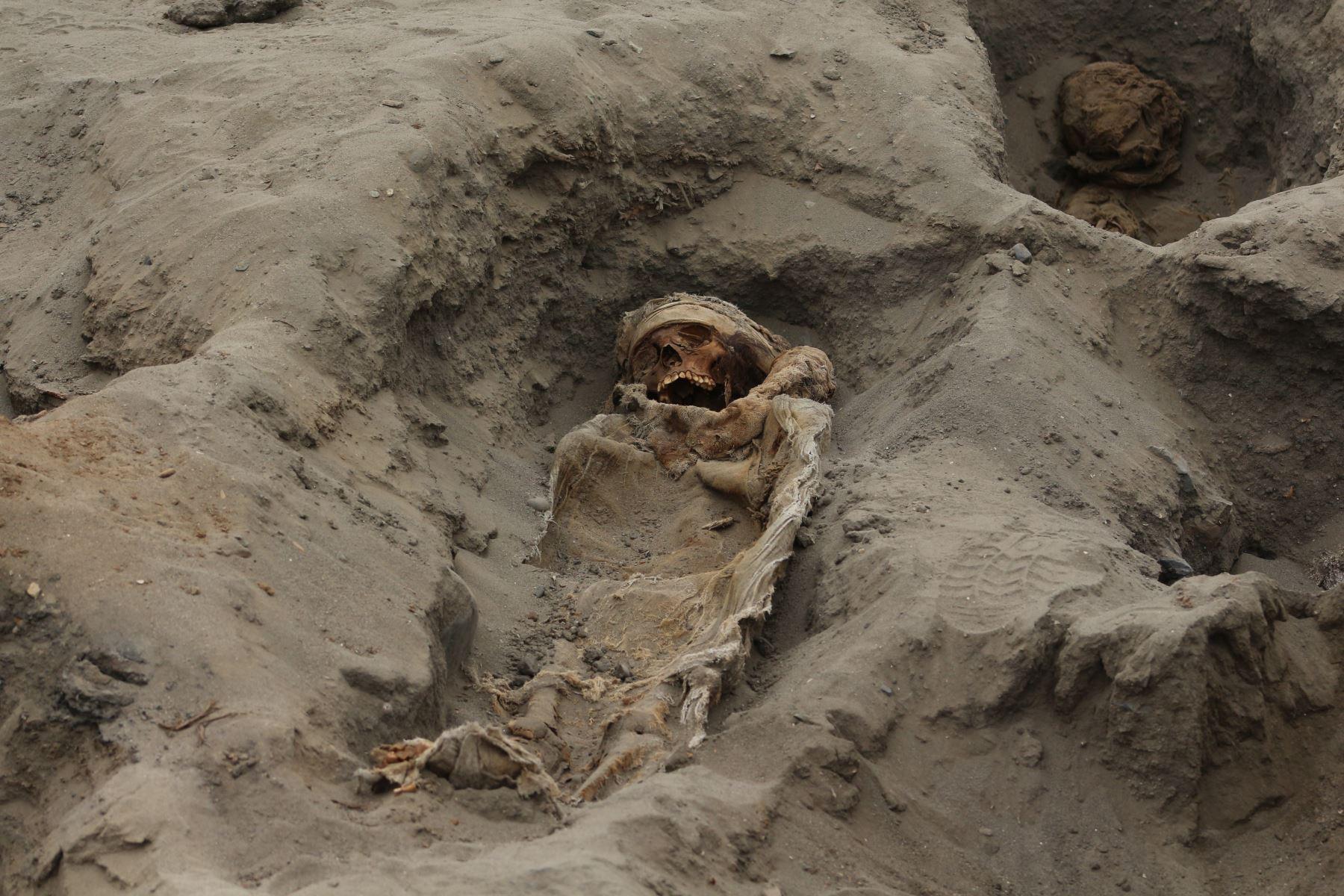 Los Chimú realizaron entre tres y cuatro sacrificios entre los periodos 1200 y 1450, de los cuales los tres primeros fueron de niños y el último de llamas. Foto: Cortesía/ Luis Puell