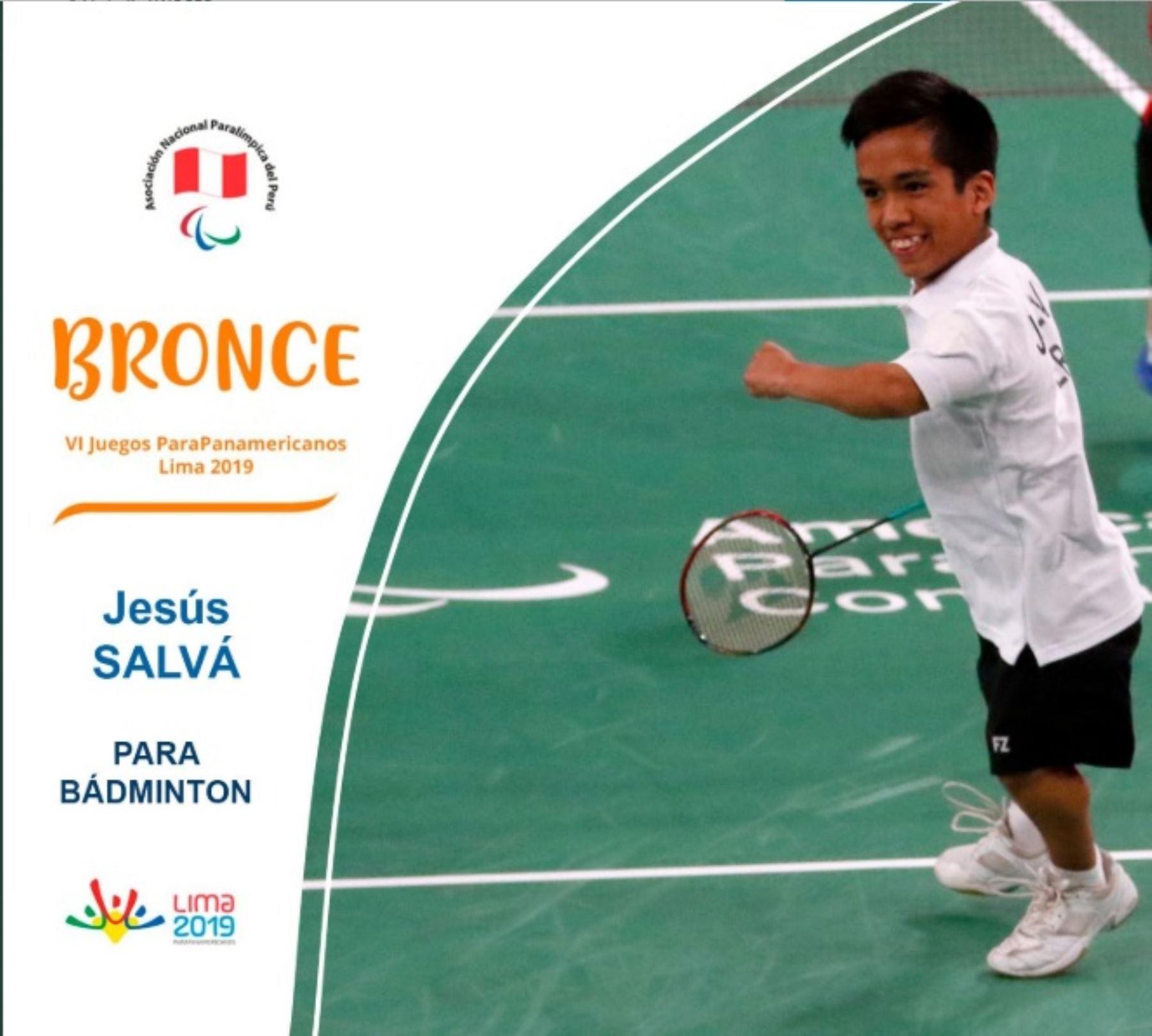 Jesús Salvá gana medalla de bronce en parabádminton en Juegos Parapanamericanos Lima 2019.