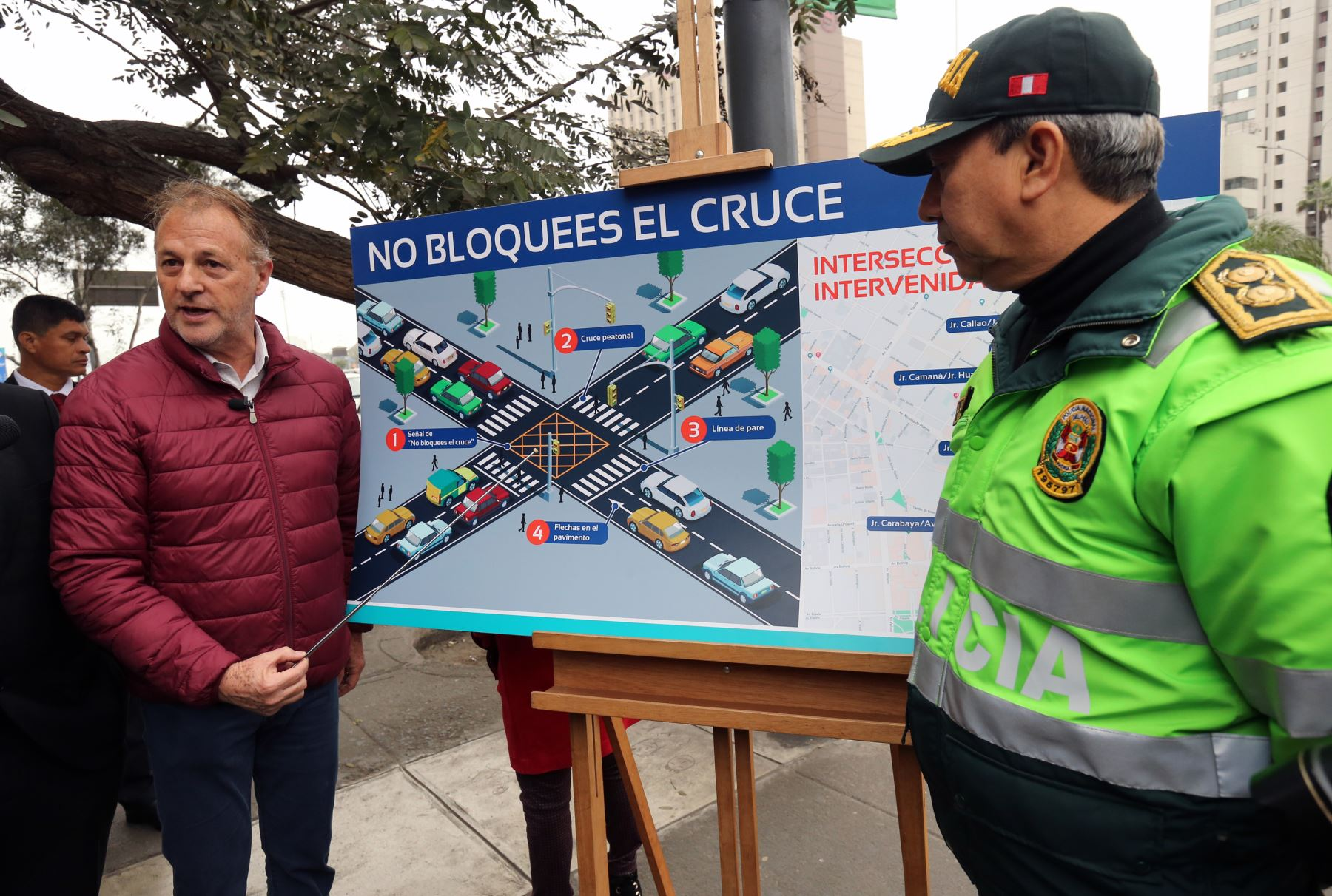 Muñoz presentó esta mañana las primeras seis intersecciones viales del Cercado de Lima intervenidas con mallas antibloqueos que buscan reducir la congestión vehicular. Foto: ANDINA/Norman Córdova