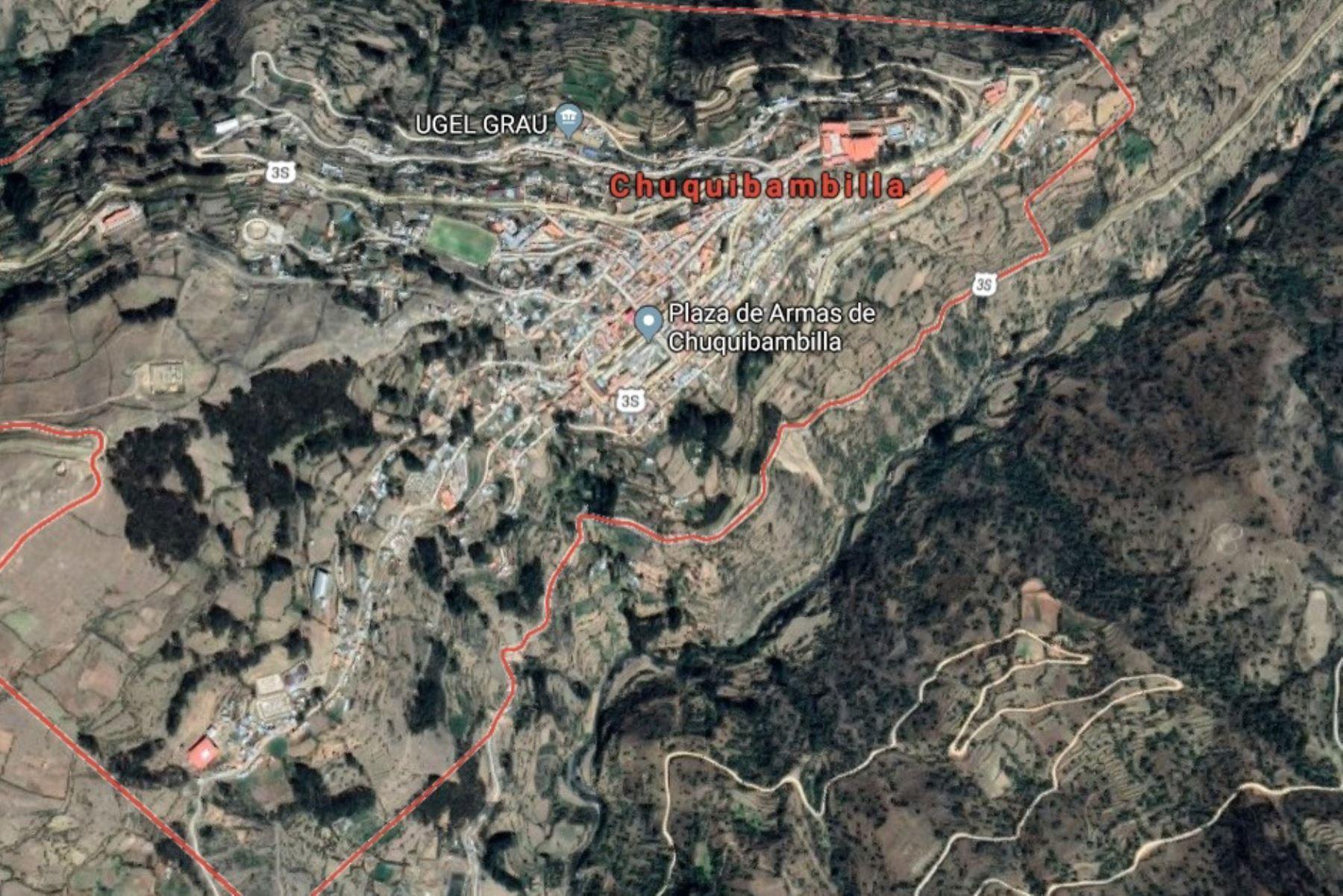 Fuerte sismo de magnitud 4.8 alarmó a población de Chuquibambilla, región Apurímac. Foto: Google Maps