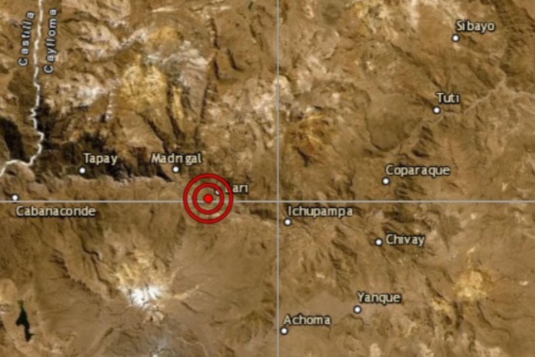 Reportan sismo de magnitud 3.4 en la localidad de Madrigal, provincia de Caylloma, en Arequipa.
