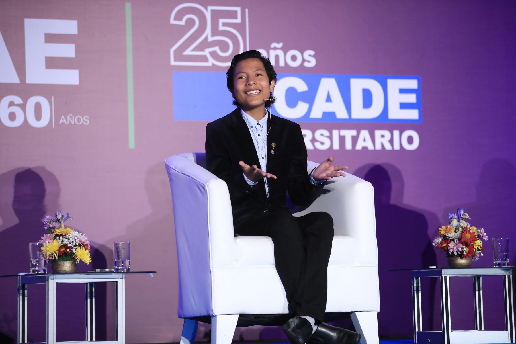 Niño banquero José Quisocala participó en CADE Universitario 2019. Foto: ANDINA/Juan Carlos Guzmán.