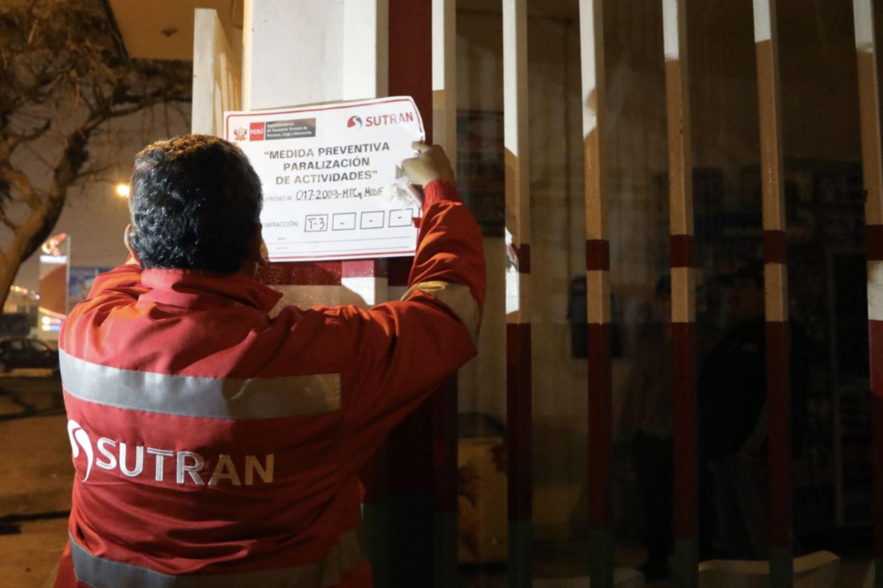 Personal de Sutran desarrolla labor de fiscalización permanente en todo el país. ANDINA/Difusión