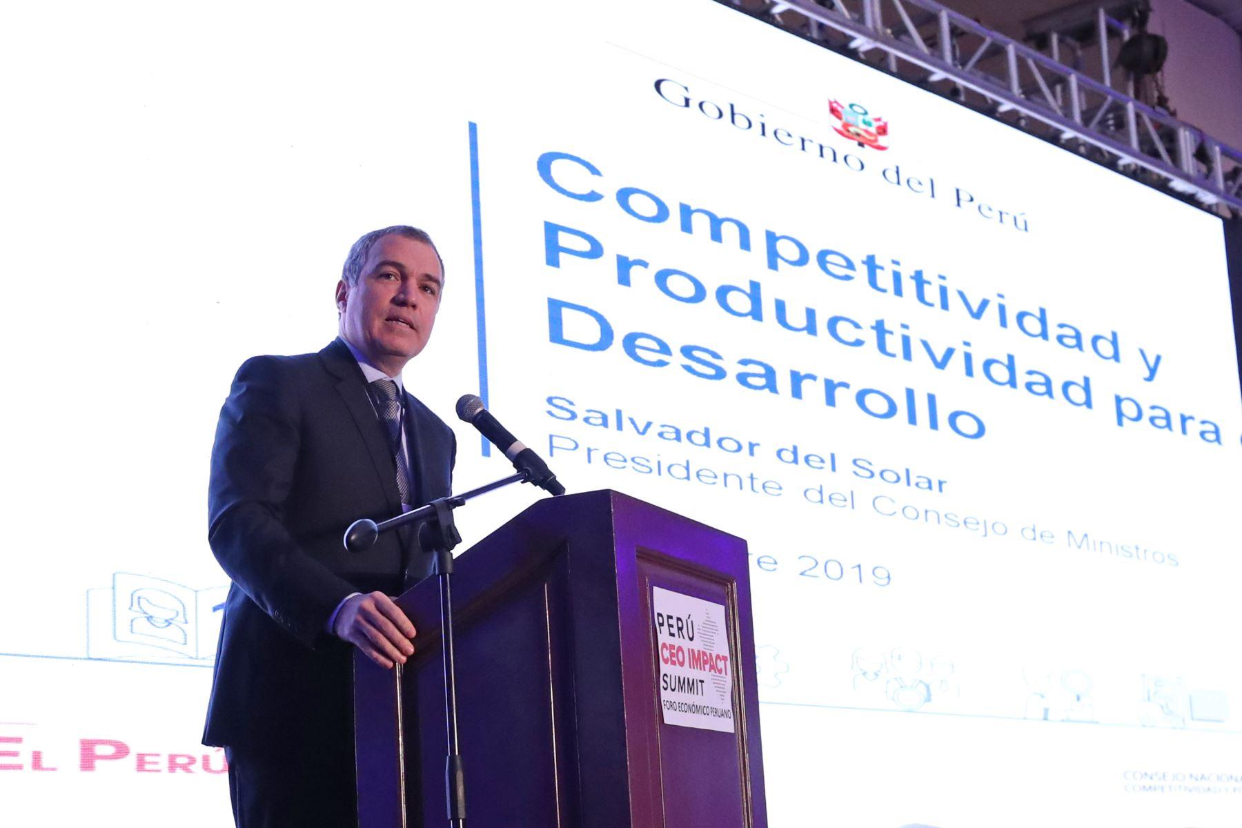 """El presidente del Consejo de Ministros, Salvador del Solar, participa en la apertura del Perú CEO Impact Summit, con la exposición """"Competitividad para el  desarrollo"""". Foto: ANDINA/ PCM"""