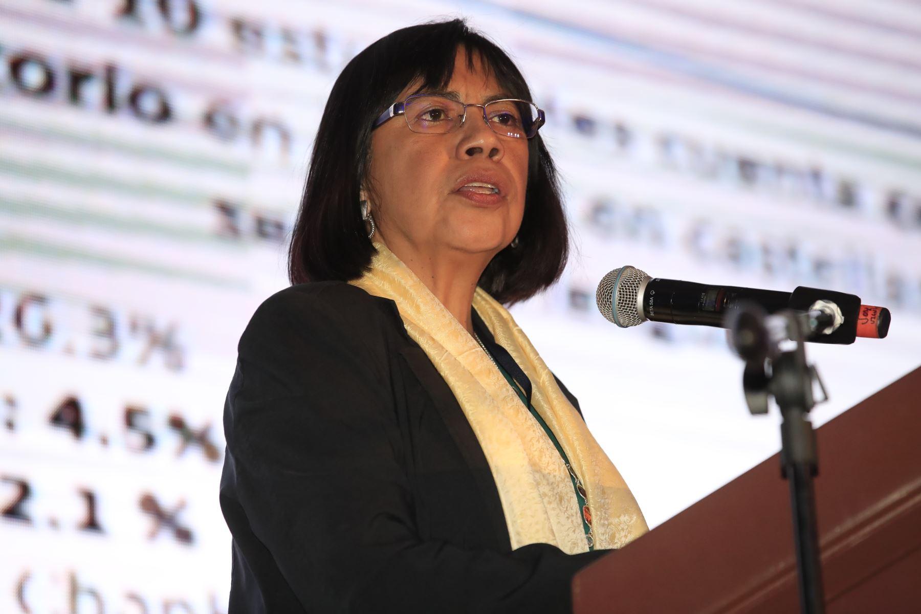 Ana Andrade, viceministra de Gestión Pedagógica, durante su exposición en el foro: Perú CEO Impact Summit   Foto: Andina/Juan Carlos Guzman Negrini