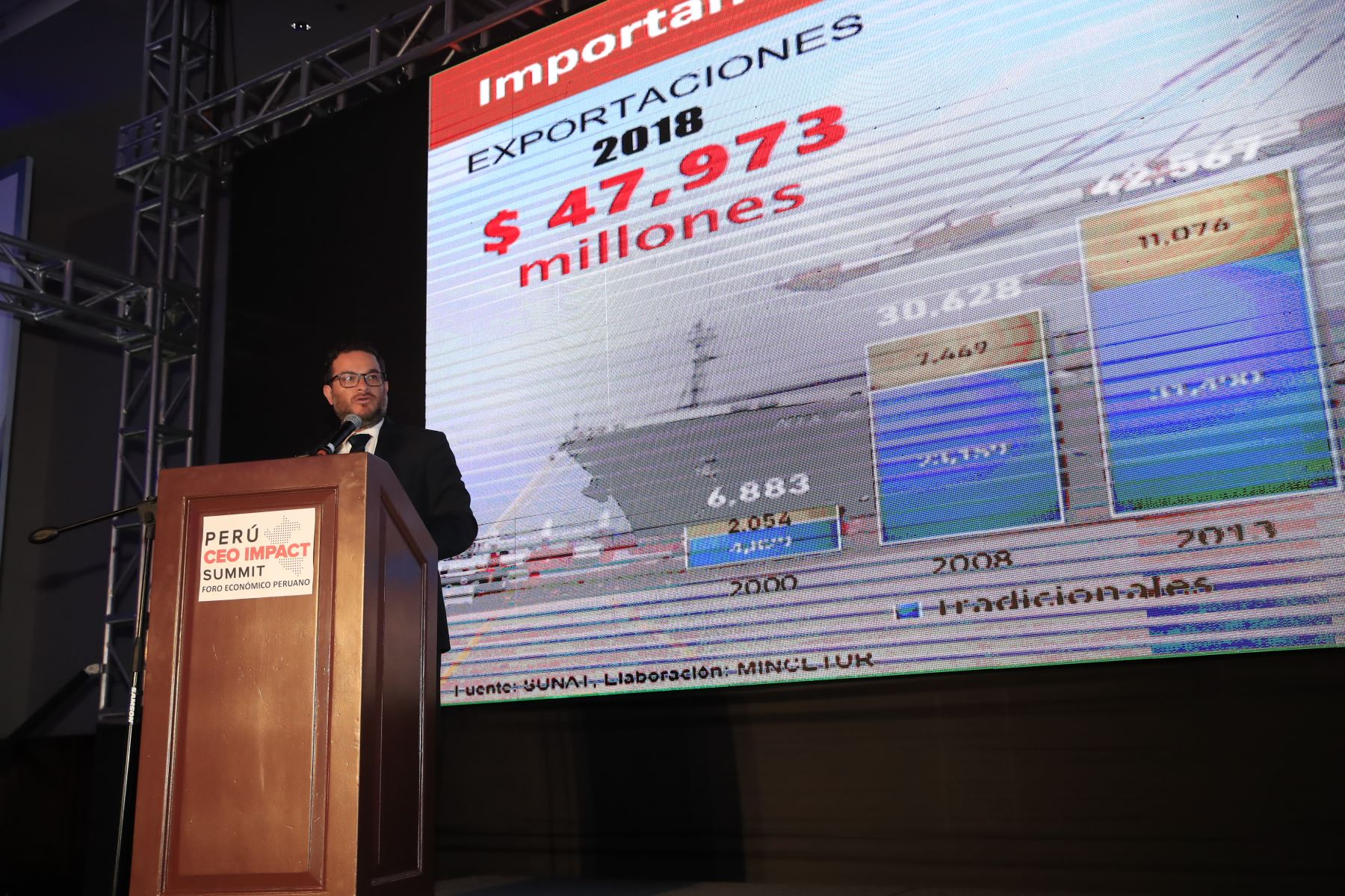 Edgar Vásquez, ministro de Comercio Exterior y Turismo, durante su exposición en el foro: Perú CEO Impact Summit   Foto: Andina/Juan Carlos Guzman Negrini