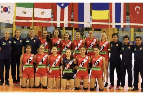 Selección peruana de vóley Sub-18 juega esta tarde con Italia. ANDINA/Difusión