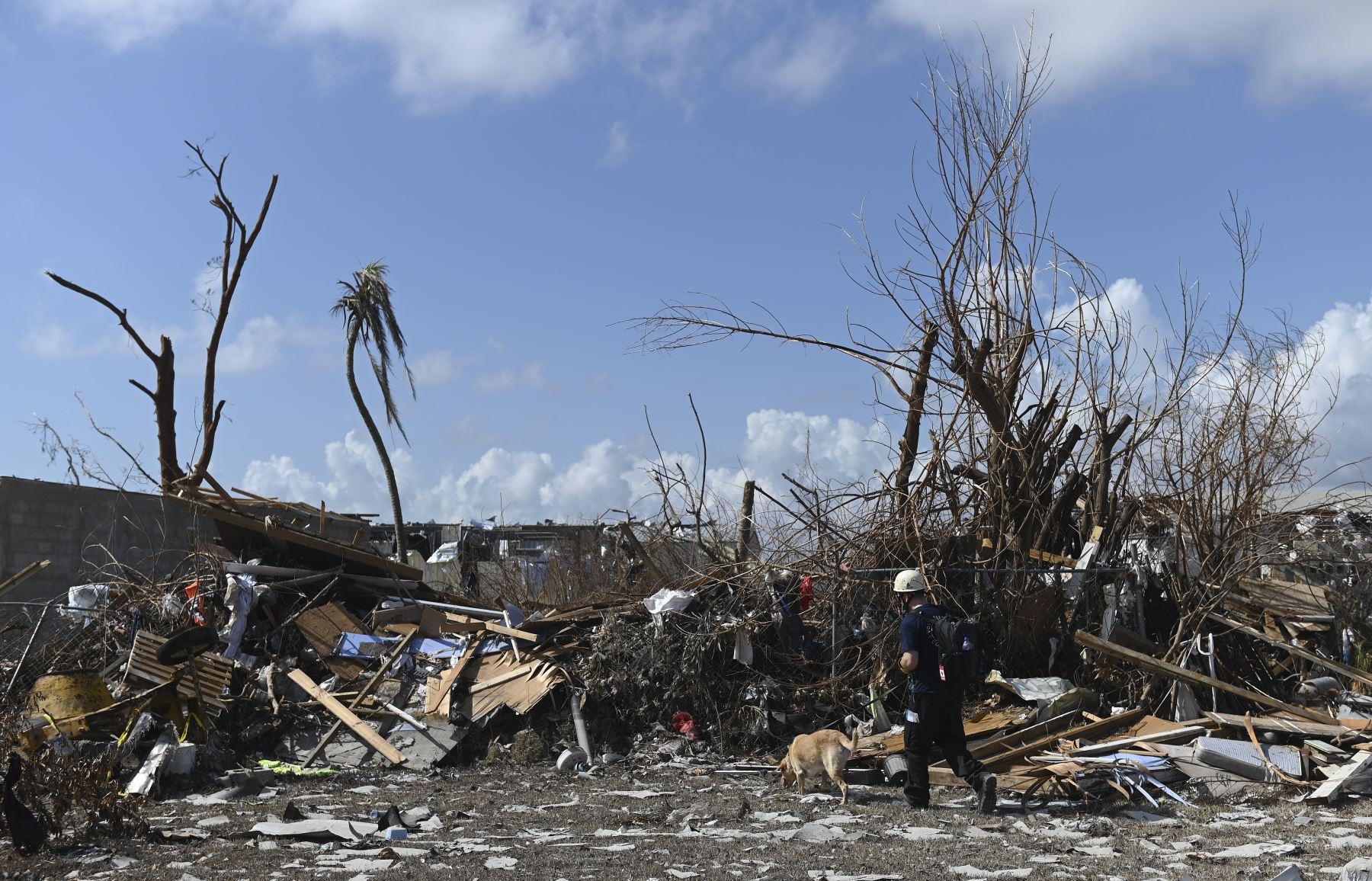 Un equipo canadiense de búsqueda y rescate busca en los escombros en Marsh Harbour, Bahamas, una semana después del paso del huracán Dorian. Las autoridades de Bahamas han actualizado el número de muertos por el huracán Dorian y superan mas de 50 fallecidos. Foto: AFP