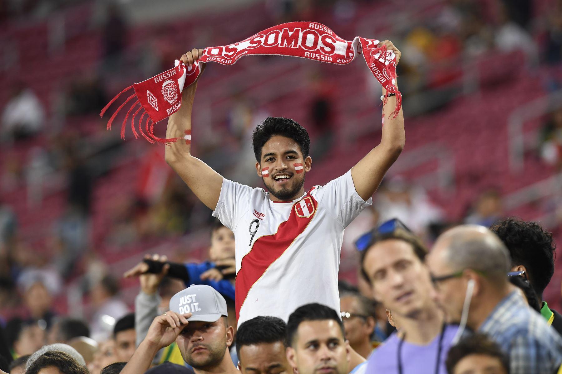 Hincha peruano durante el partido internacional de la Copa de Campeones 2019 entre Brasil y Perú, en el estadio conmemorativo de Los Ángeles en Los Ángeles, California.Foto:AFP