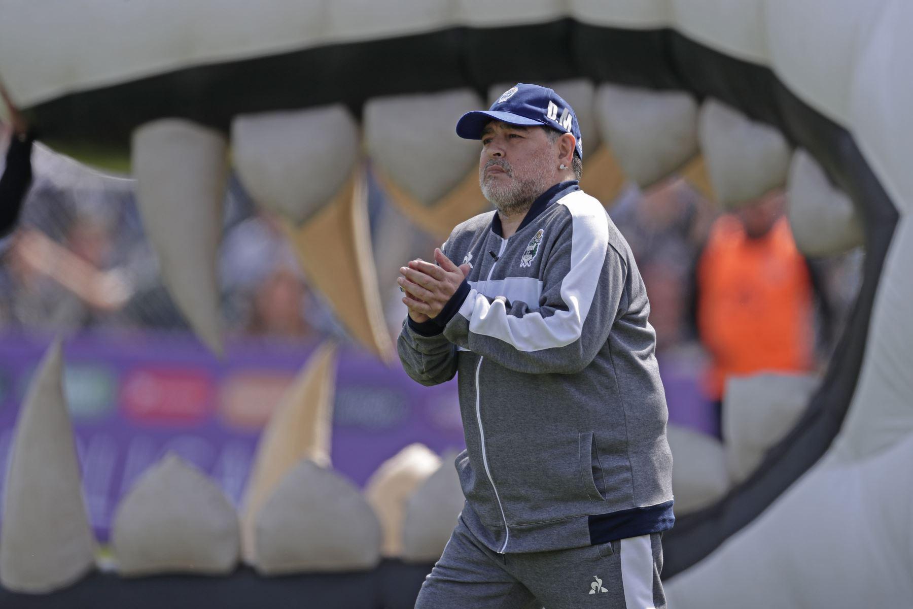 La ex estrella del fútbol argentino y entrenador del nuevo equipo de Gimnasia y Esgrima La Plata Diego Armando Maradona hace gestos durante su partido de fútbol de la Superliga de la Primera División de Argentina contra el Racing Club. Foto: AFP