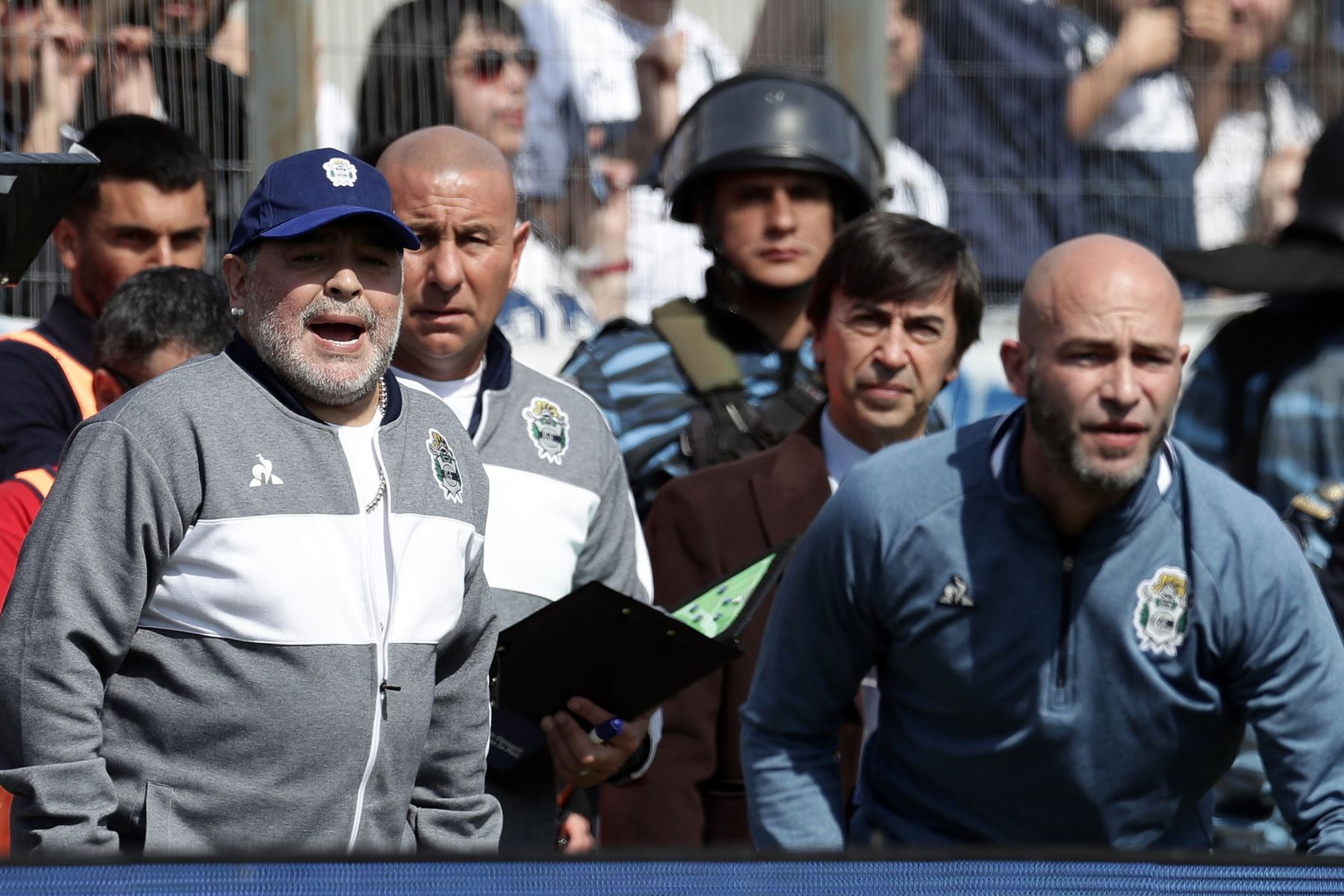 La ex estrella del fútbol argentino Diego Armando Maradona (L) y el nuevo entrenador del equipo de Gimnasia y Esgrima La Plata gestos durante su partido de fútbol de la Superliga de la Primera División de Argentina contra el Racing Club. Foto:AFP