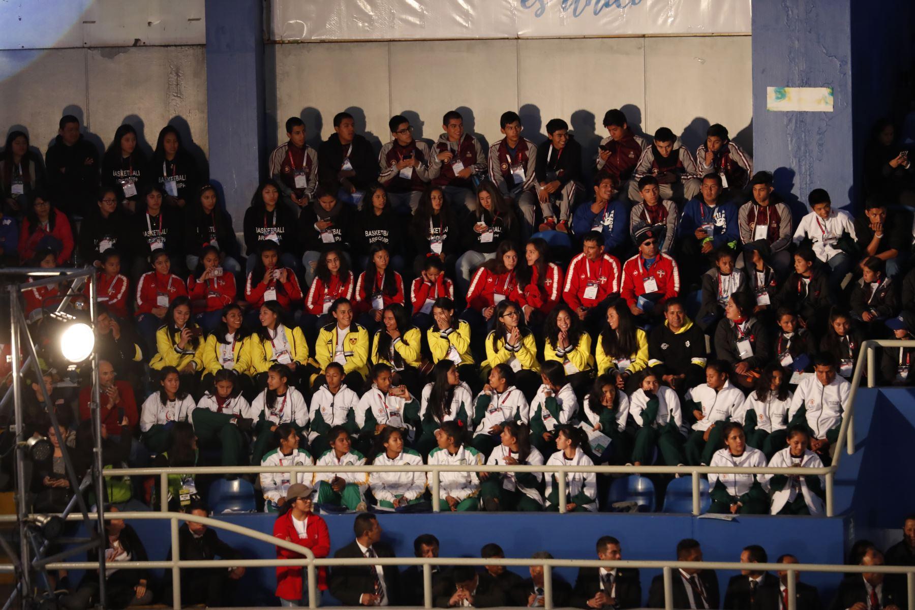 Ceremonia de inauguración de los  XXVII Juegos Deportivos Escolares Nacionales 2019,  en el Coliseo Bonilla de Miraflores.Foto:ANDINA/Renato Pajuelo