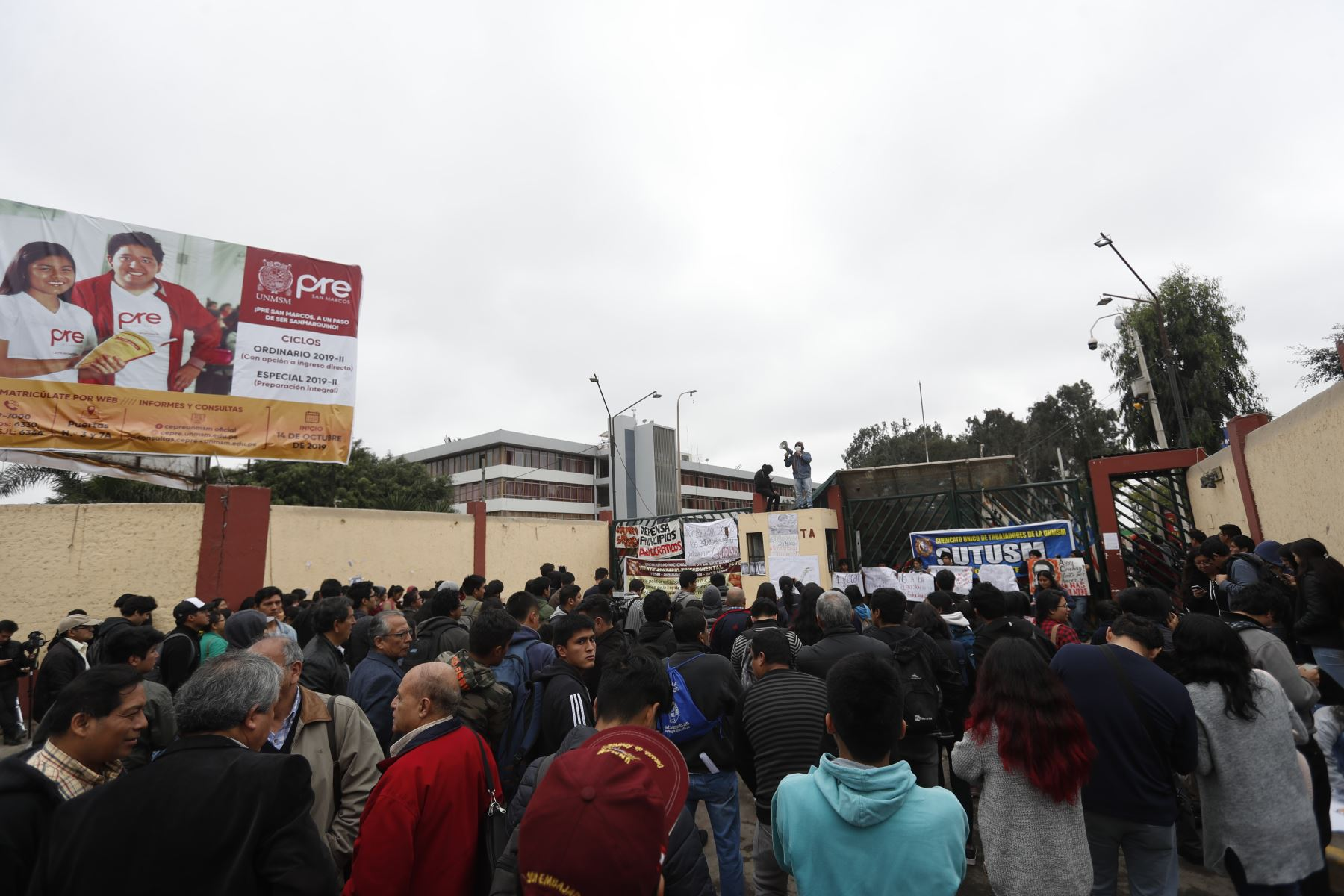 Campus de la Universidad Nacional Mayor de San Marcos (UNMSM) continúa tomado por estudiantes en protesta a la construcción del bypass. Foto: ANDINA/Renato Pajuelo