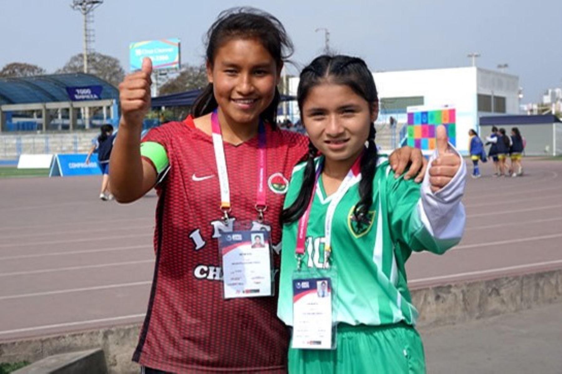 Milka, la Capi y la Messi, las goleadoras de los Juegos Deportivos Escolares Nacionales. Foto: ANDINA/Difusión.