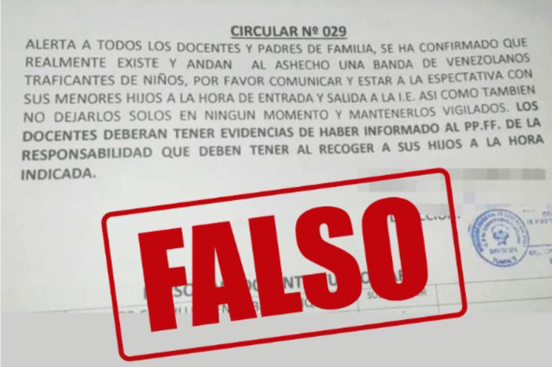 Minedu aseguró que esta circular es falsa. Foto: Twitter