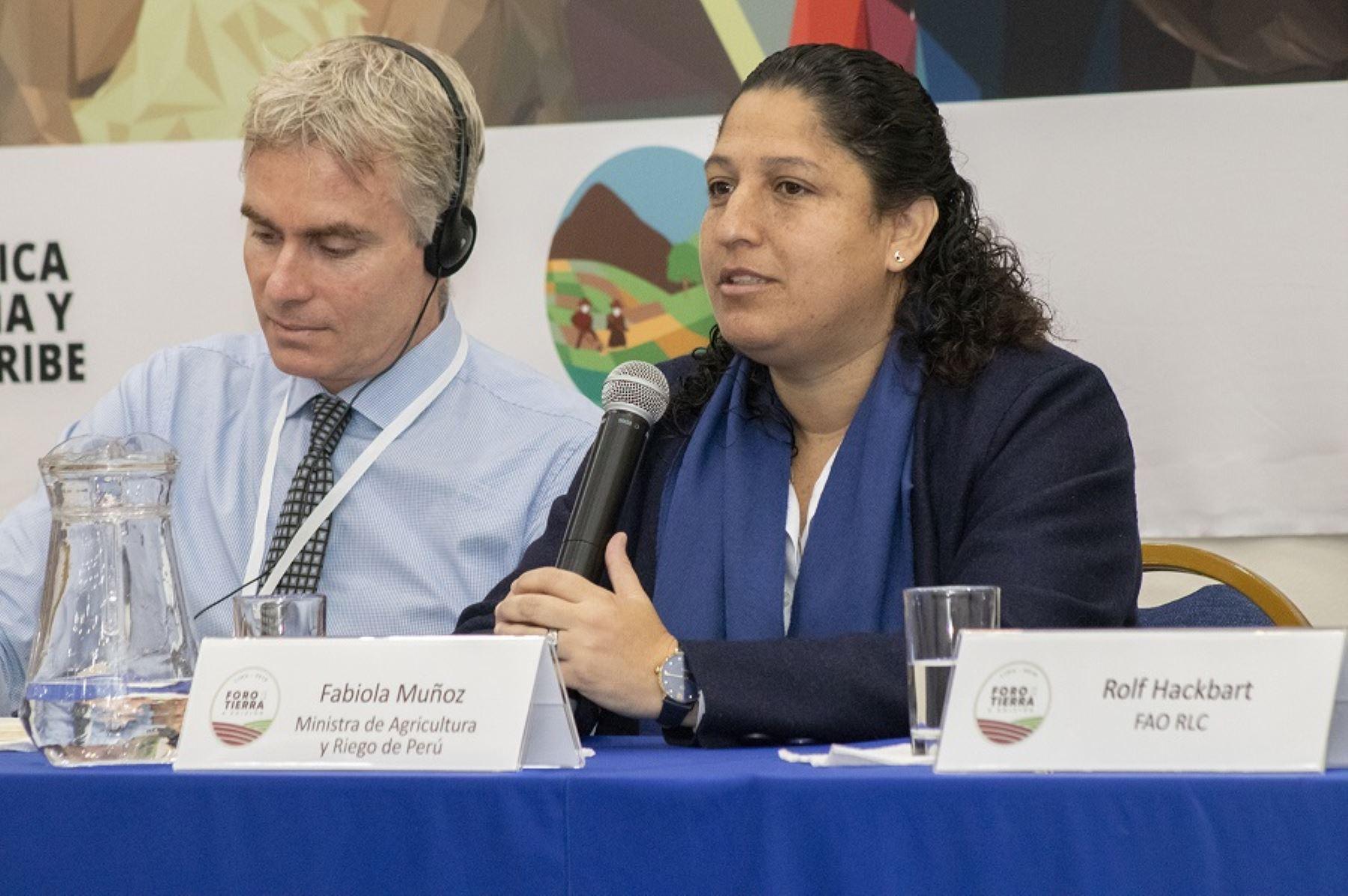 Ministra de Agricultura y Riego, Fabiola Muñoz, en el X Foro de la Tierra América Latina y el Caribe.