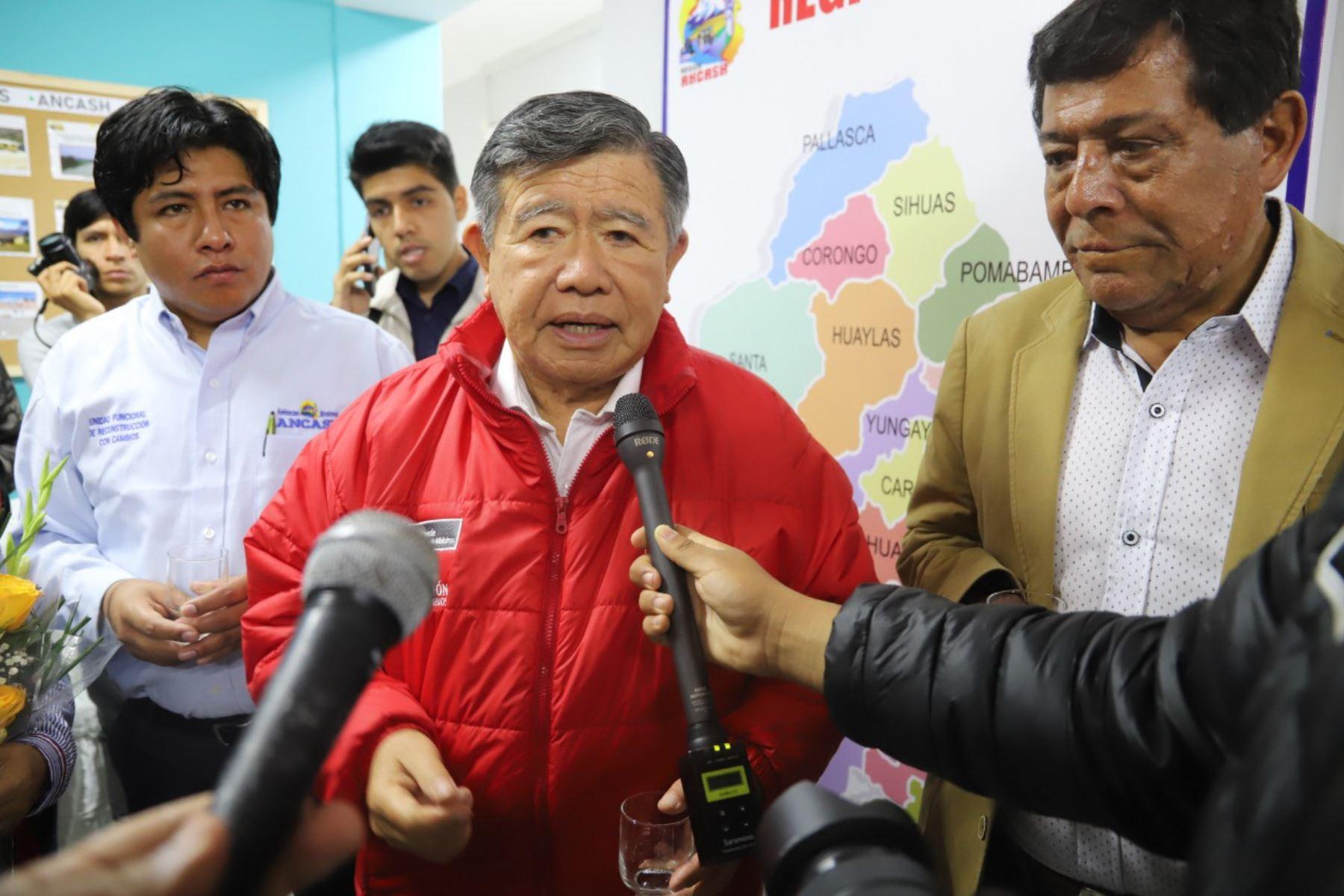 El director de la ARCC, Nelson Chui, se reunió con alcaldes de Áncash para brindarles información sobre el estado de las intervenciones de reconstrucción.