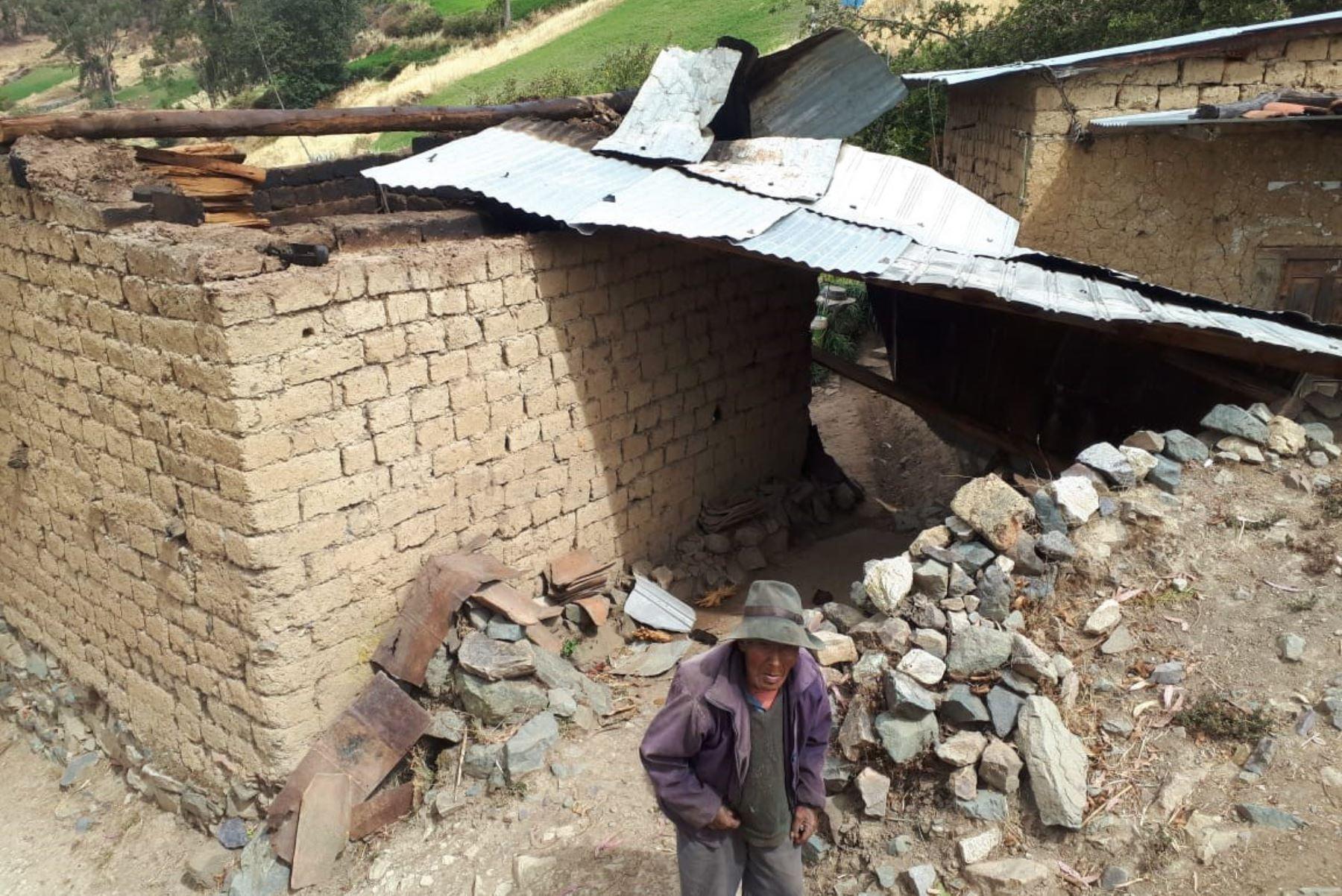 Vientos fuertes causan daños en techos de seis viviendas en provincia de Aija, región Áncash. ANDINA/Difusión