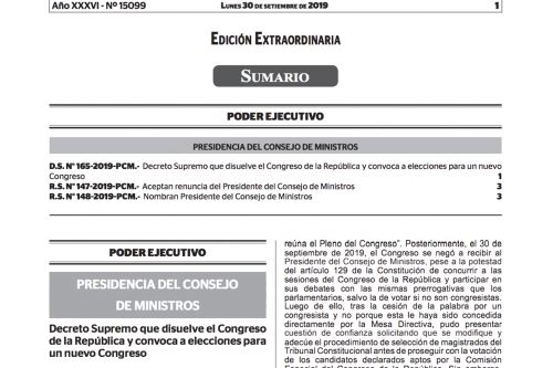 Decreto supremo que disuelve al Congreso de la República y convoca elecciones para un nuevo Parlamento.