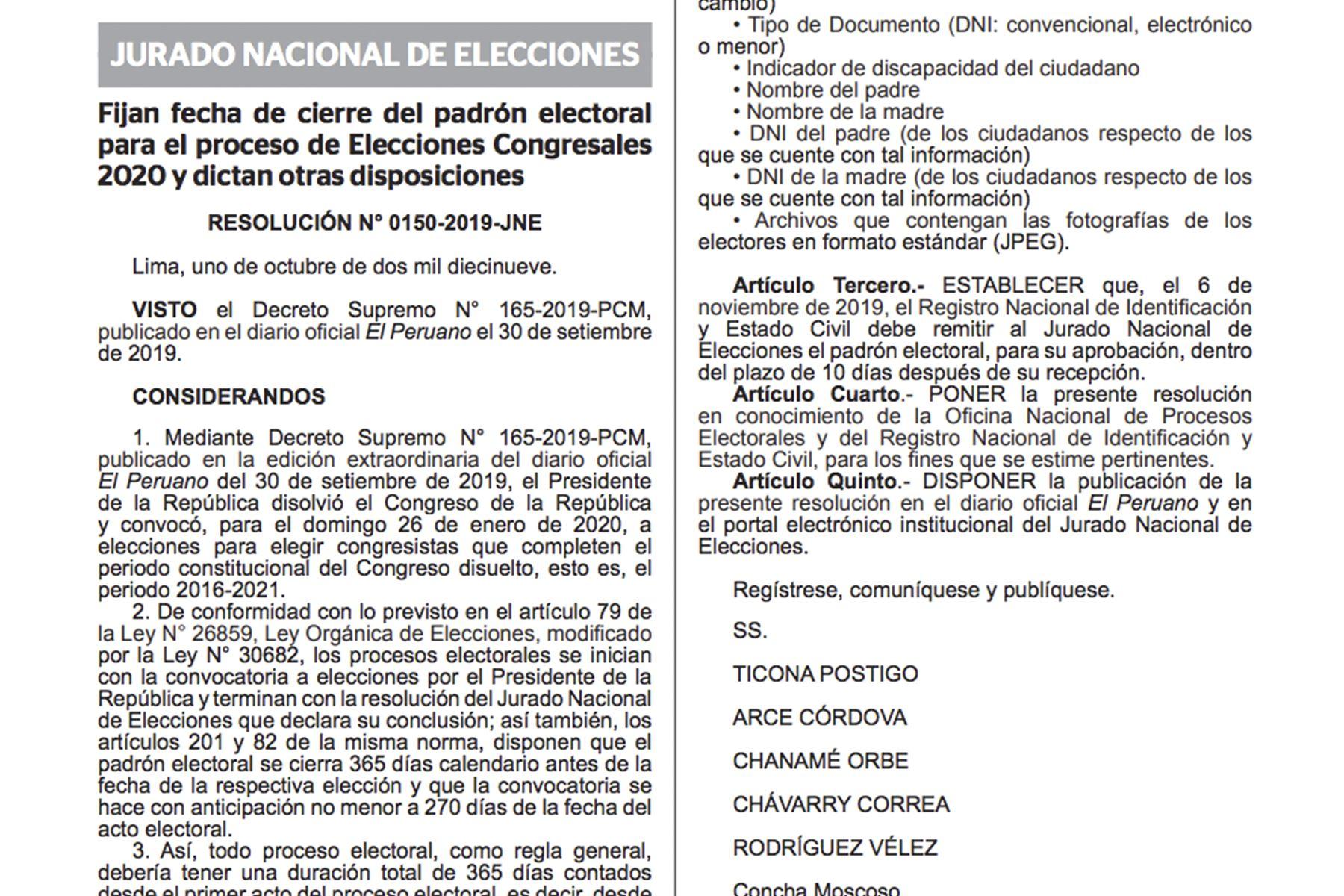 Publican resolución del JNE sobre elecciones parlamentarias del 26 de enero del 2020.