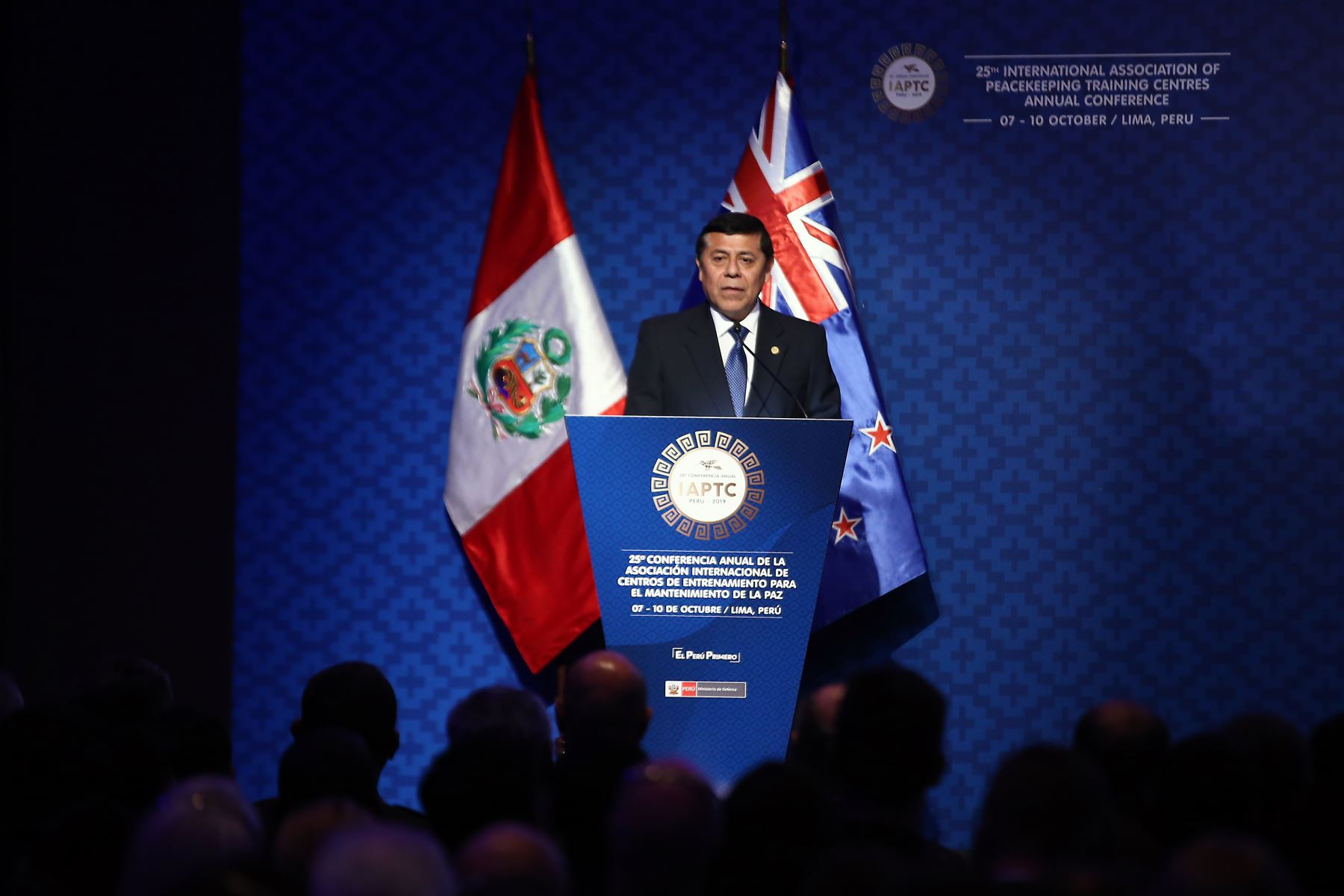 Hernán Flores Ayala, viceministro de políticas de IAPTC, participa de l la 25° Conferencia Anual de la Asociación Internacional de Centros de Entrenamiento para el Mantenimiento de la Paz -IAPTC Lima 2019. Foto: ANDINA/ Vidal Tarqui