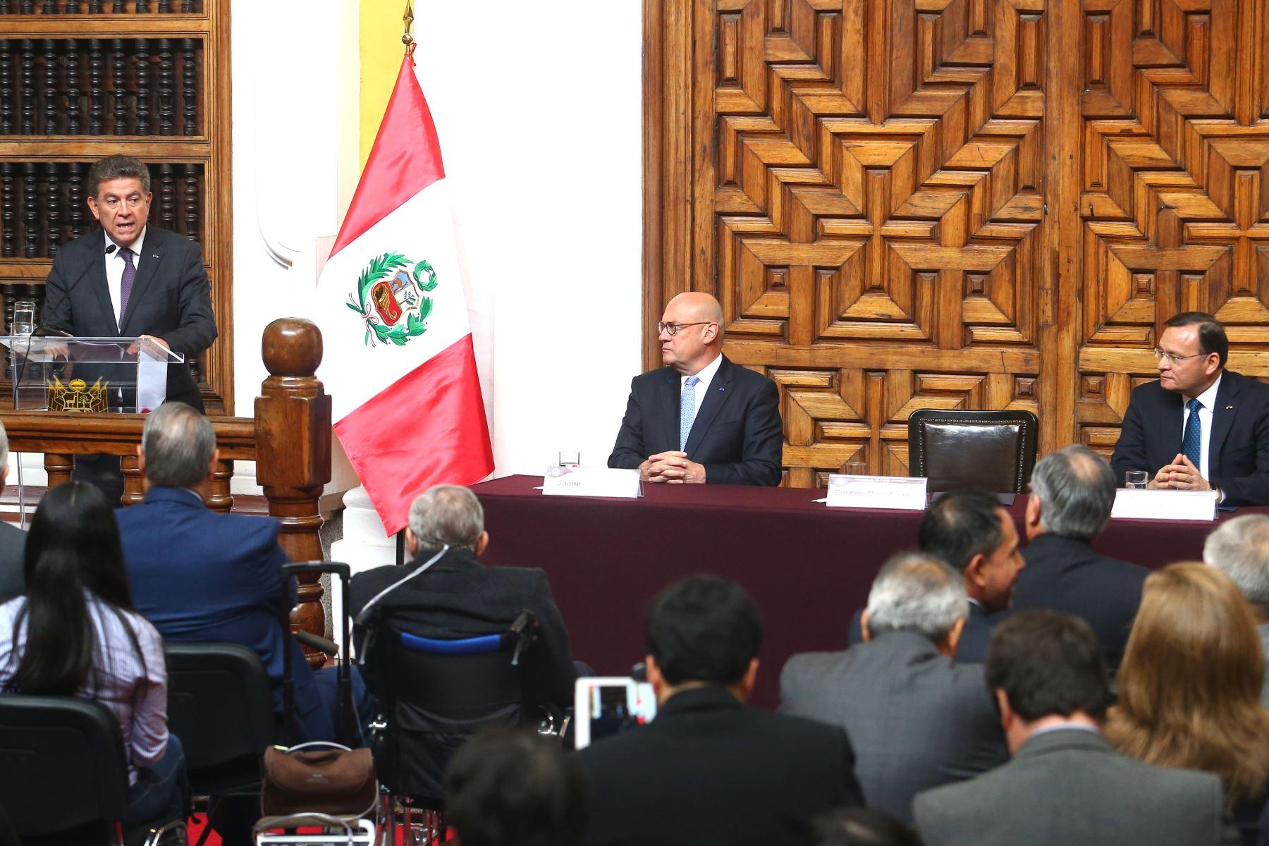 Ceremonia de presentación del embajador Gustavo Meza-Cuadra como Ministro de Relaciones Exteriores, en palacio Torre Tagle. Foto:ANDINA/Héctor Vinces