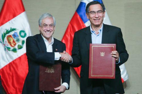 Los presidentes Martín Vizcarra del Perú y Sebastián Piñera de Chile suscribieron la Declaración de Paracas