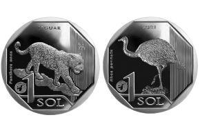 Monedas de S/ 1 alusivas al jaguar y al suri. Foto: ANDINA/difusión.