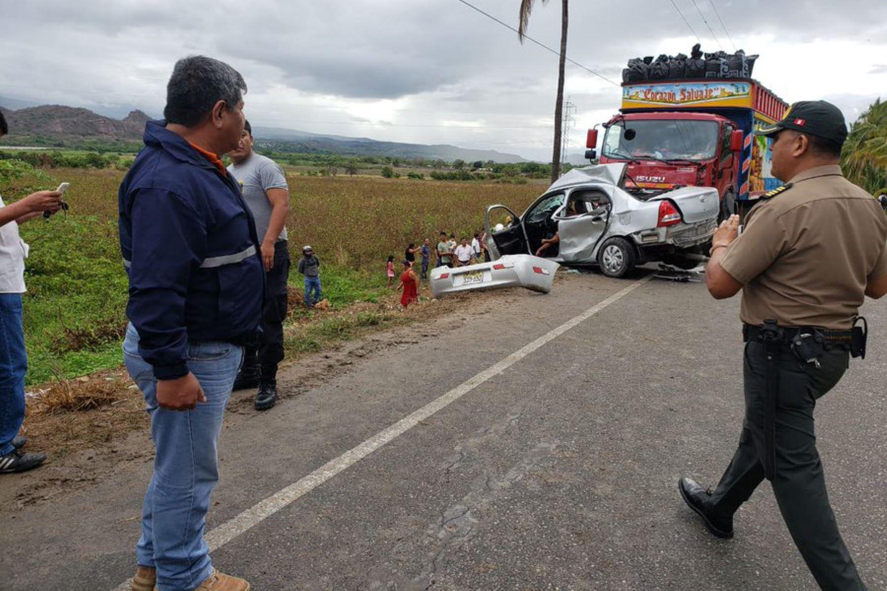 Cuatro personas murieron ayer en un accidente de tránsito registrado en Bagua, región Amazonas. Foto: COEN