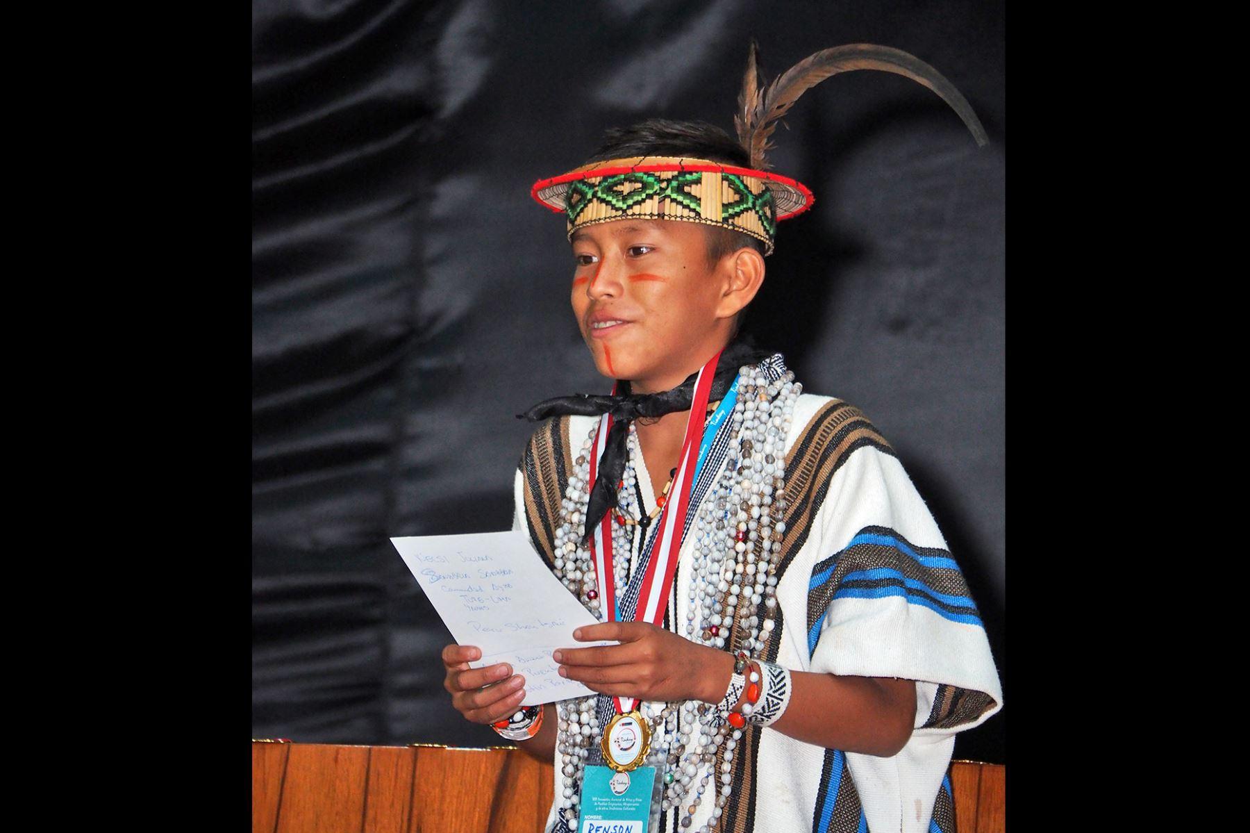 Renson Yen Miguel Mariños, un niño del pueblo yanesha de Oxapampa, región Pasco, se convirtió en el presidente del Parlamento del Tinkuy 2019. Foto: ANDINA/Difusión