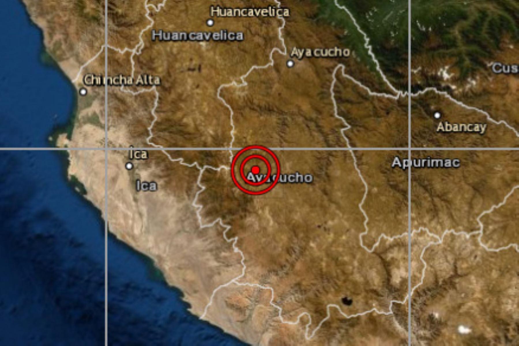 A las 1:45 horas se registró un sismo de magnitud 4.6 a 32 kilómetros al suroeste de la provincia de Huanca Sancos, región Ayacucho.