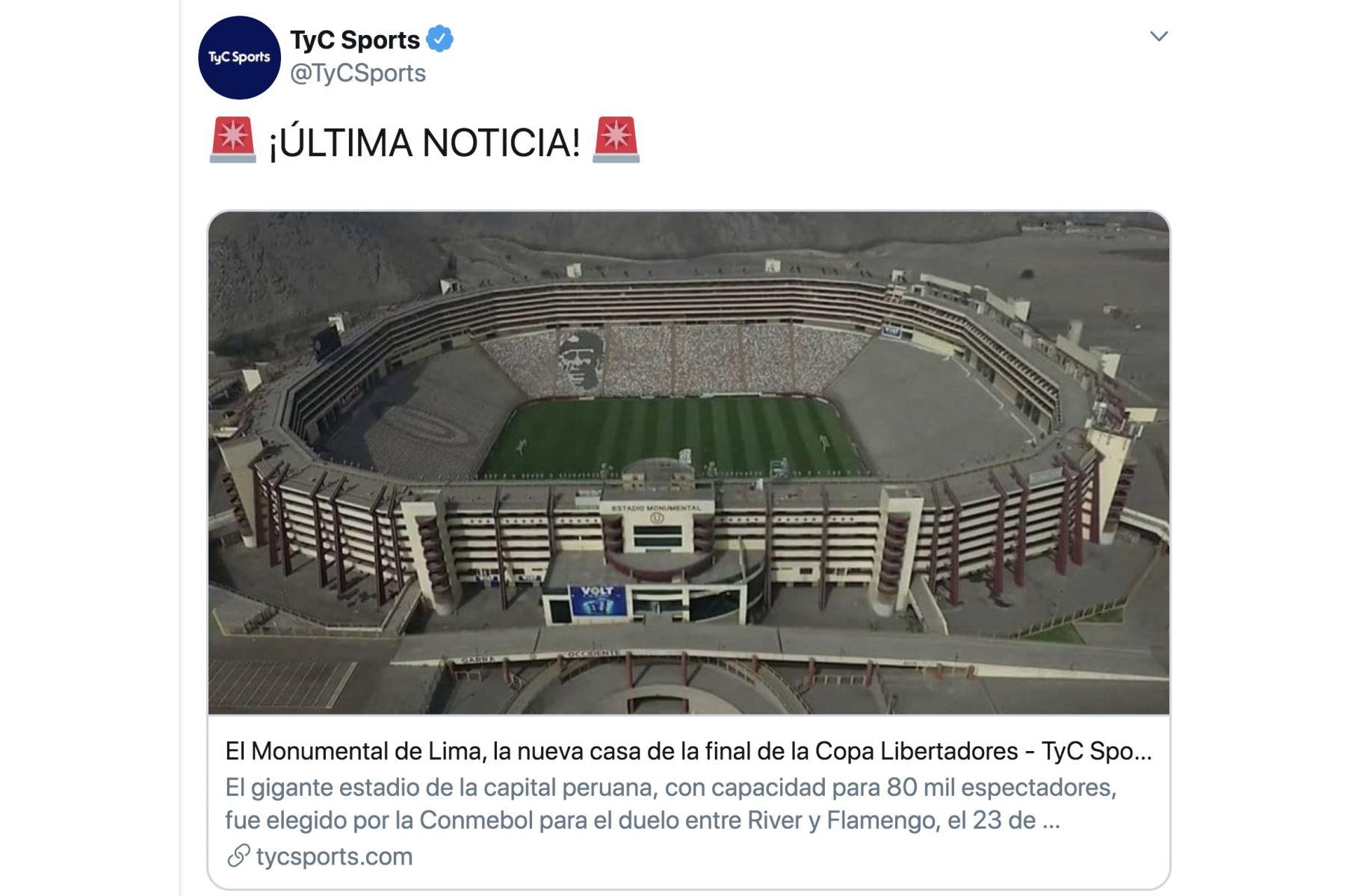 Prensa internacional informa, que Lima será  el escenario para la final de la Copa Libertadores. Foto:Twitter