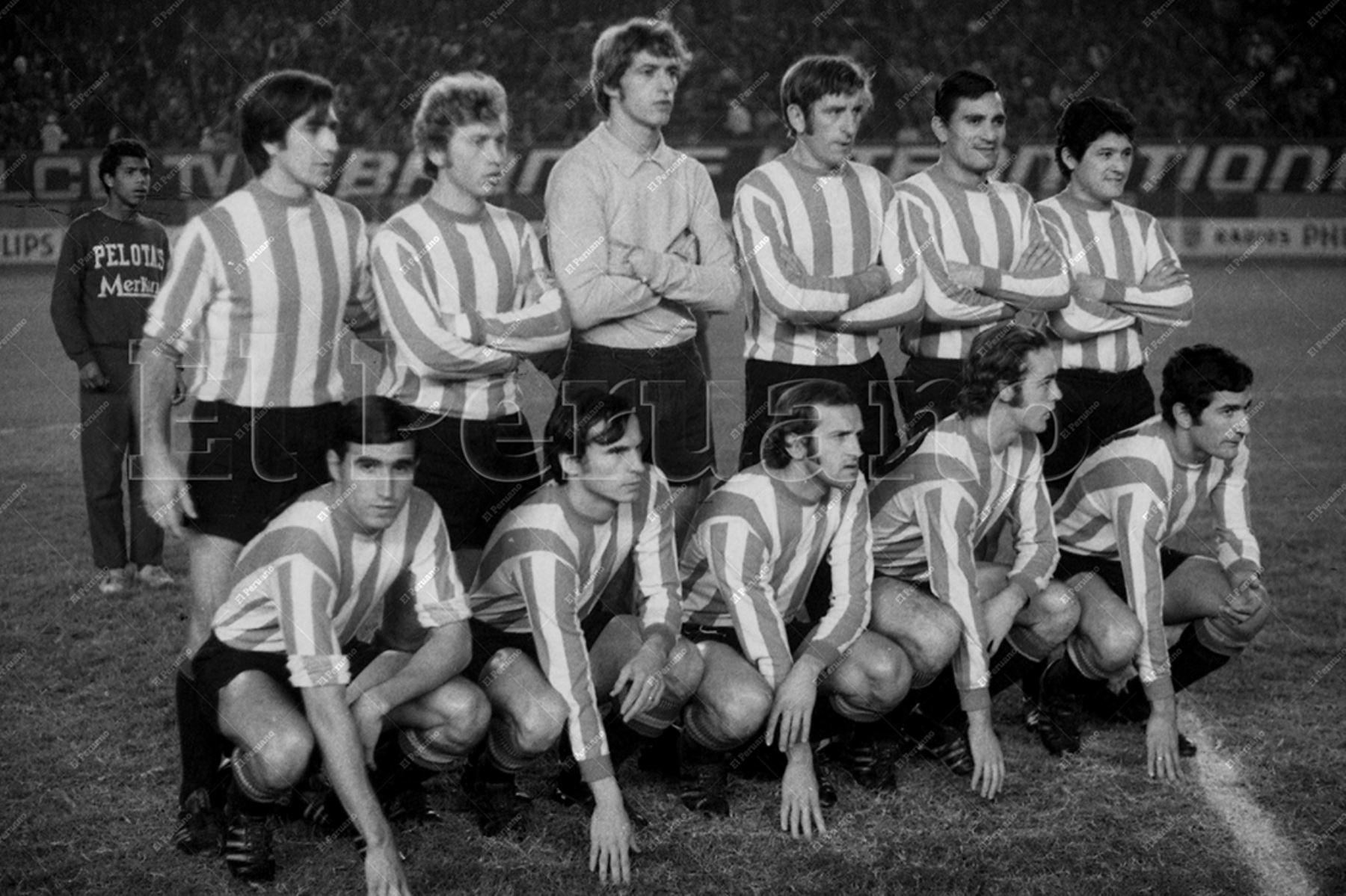 Lima - 9 junio 1971 / el cuadro tricampeón de Estudiantes de La Plata que cayó ante Nacional de Uruguay  por 2-0 en la final de Copa Libertadores disputada en el Estadio Nacional de Lima.  Foto Archivo Histórico de El Peruano
